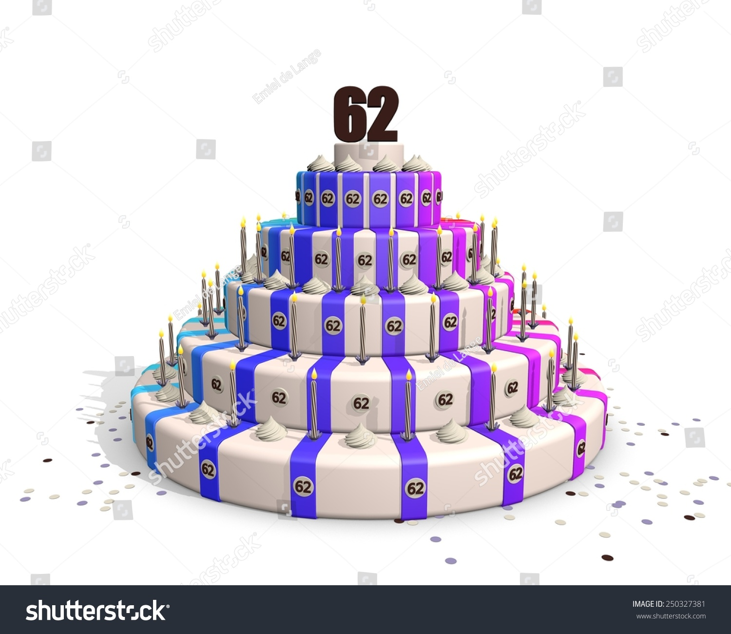 Big Happy Birthday Cake With Candles And On Top A Chocolate Number 62 250327381