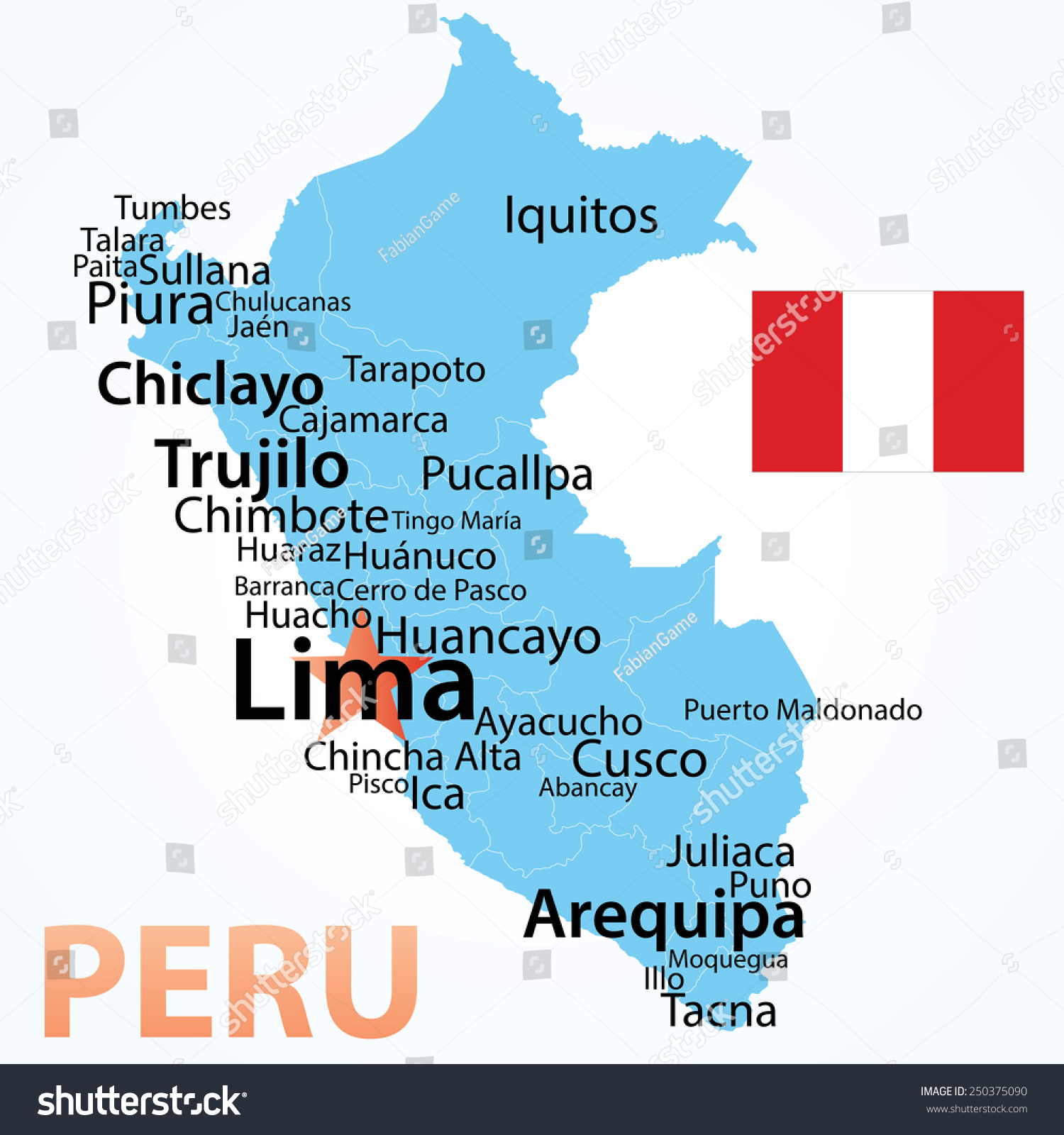 Huancayo Peru Map.Vector Map Peru Largest Cities Carefully Stock Vector Royalty Free