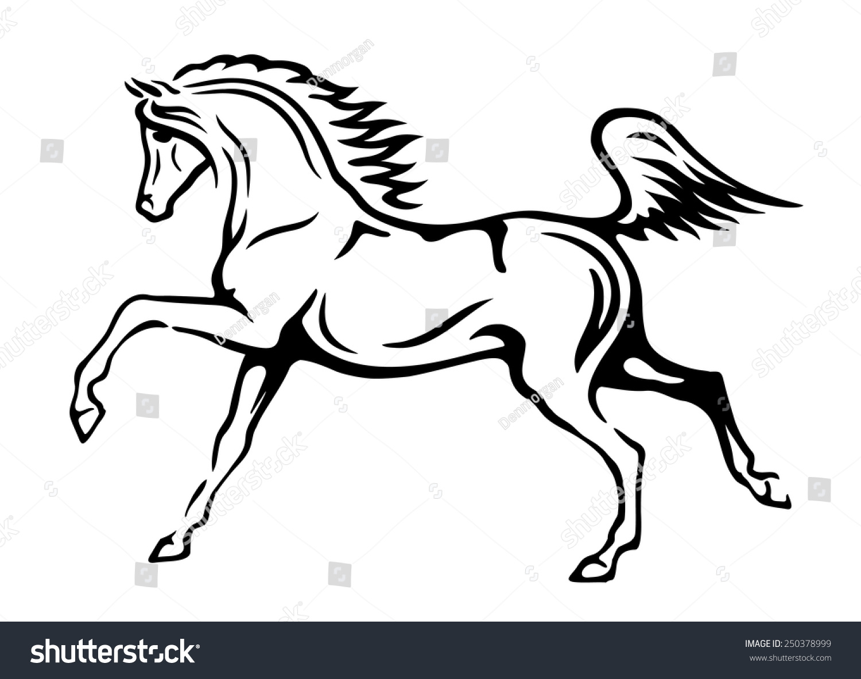Black White Vector Outlines Arabian Horse Stock Vector Royalty Free 250378999