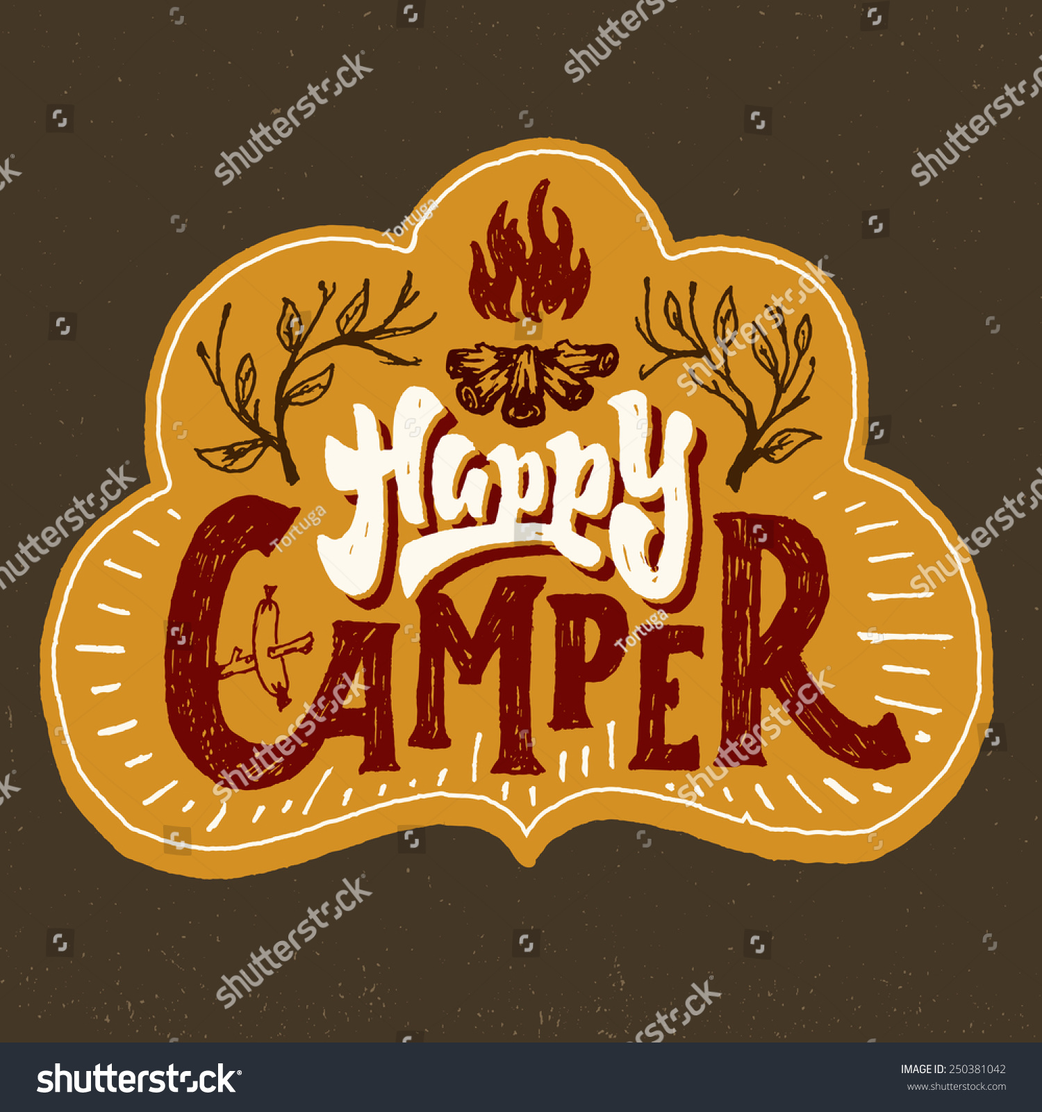 Happy Camper Humorous Hand Lettered Badge Stock Vector Royalty Free