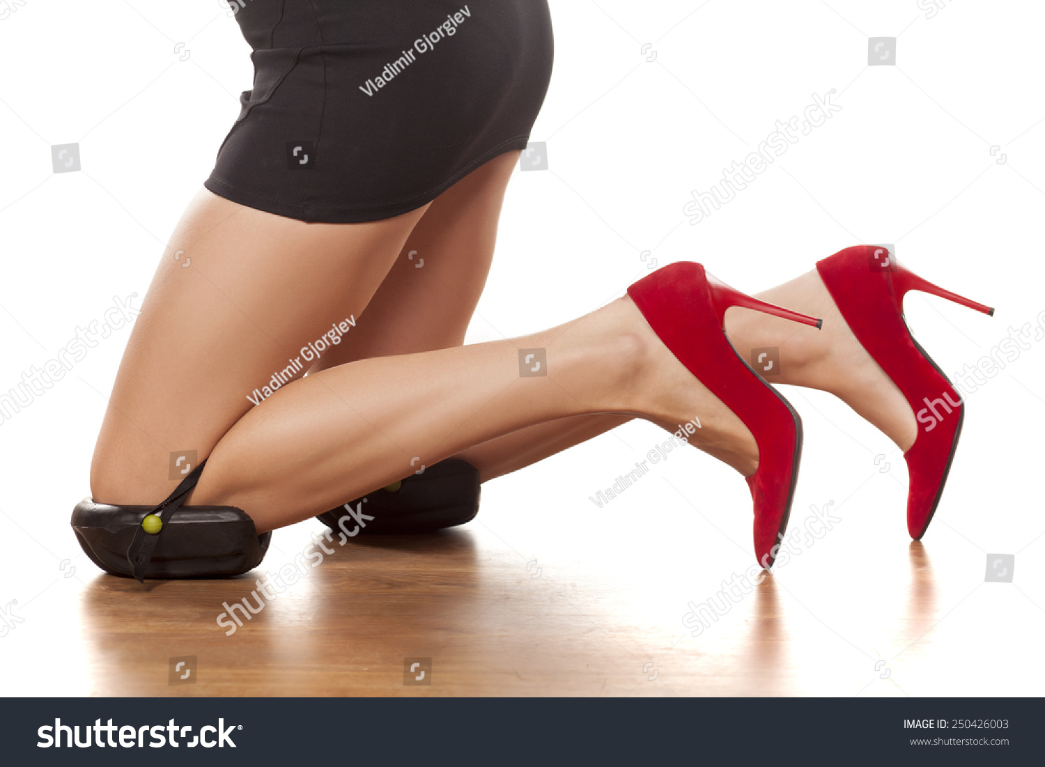 Pretty Female Legs High Heels Kneeling Stock Photo 250426003 ...