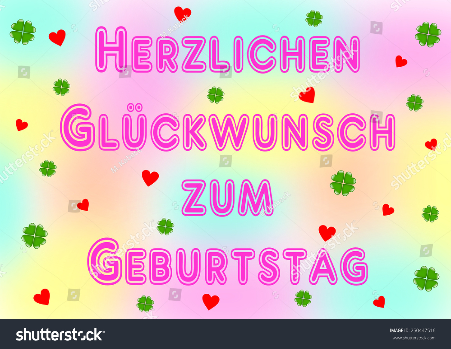 Happy Birthday Lettering German Pink Many Stock Illustration