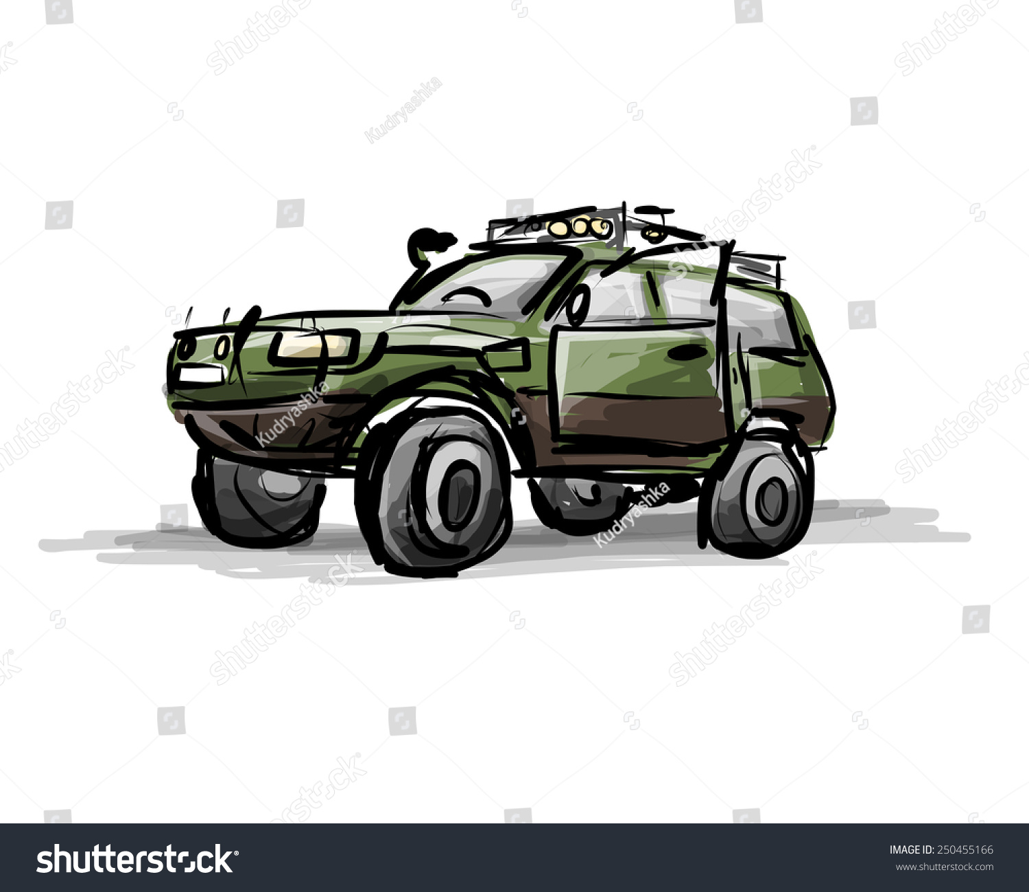 Tuned Suv Sketch Your Design Vector Stock Vector