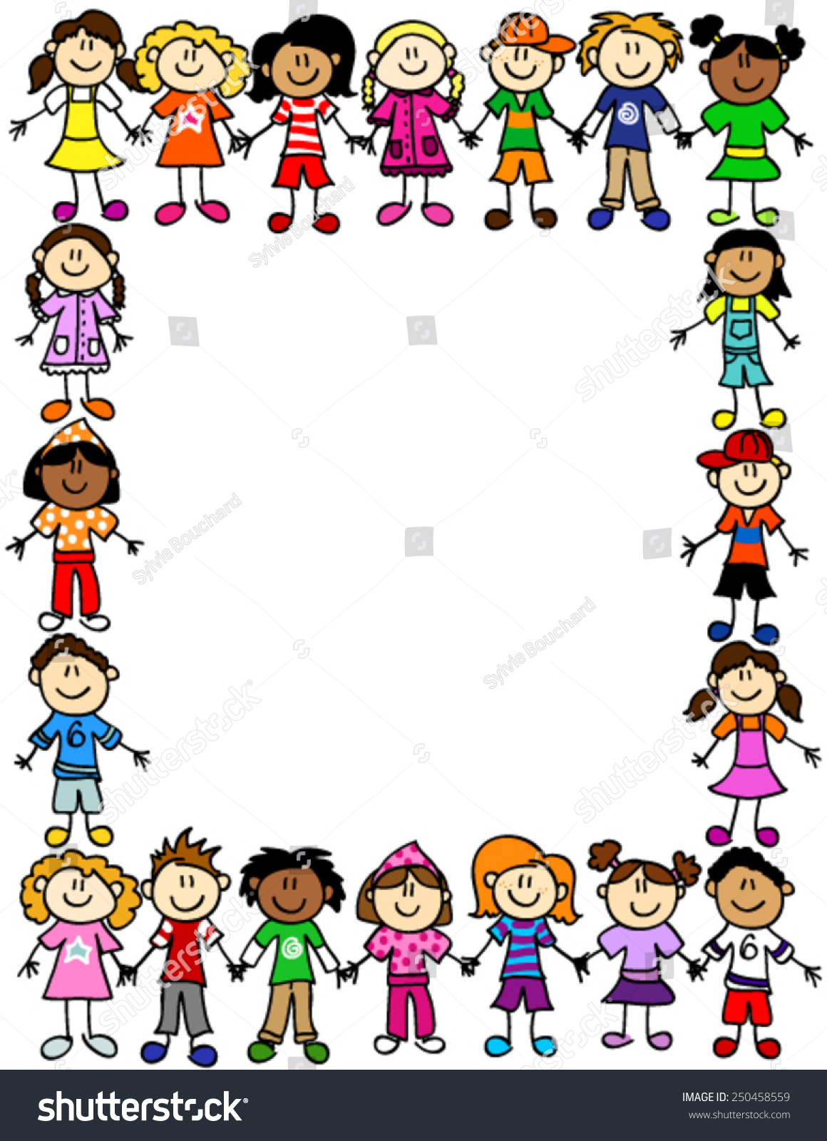 Cartoon Characters Holding Hands : Frame page border cute kid cartoon stock vector
