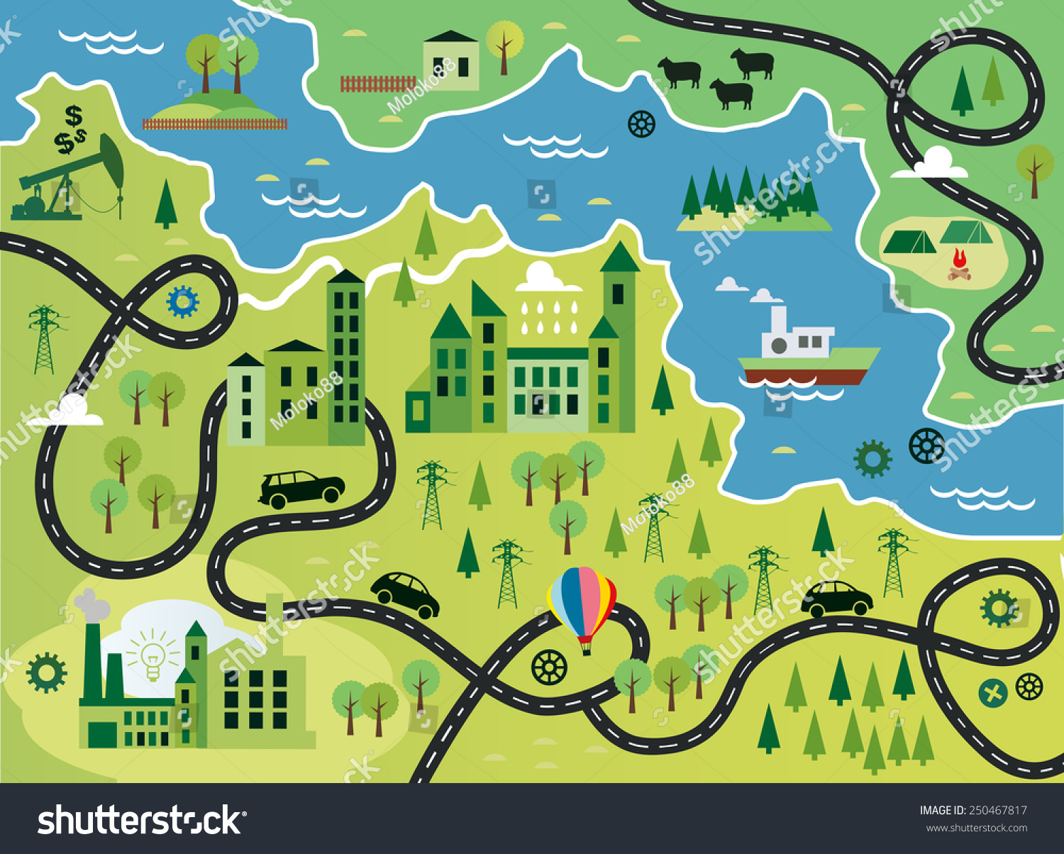 Cartoon map river vector de stock250467817 shutterstock gumiabroncs Choice Image