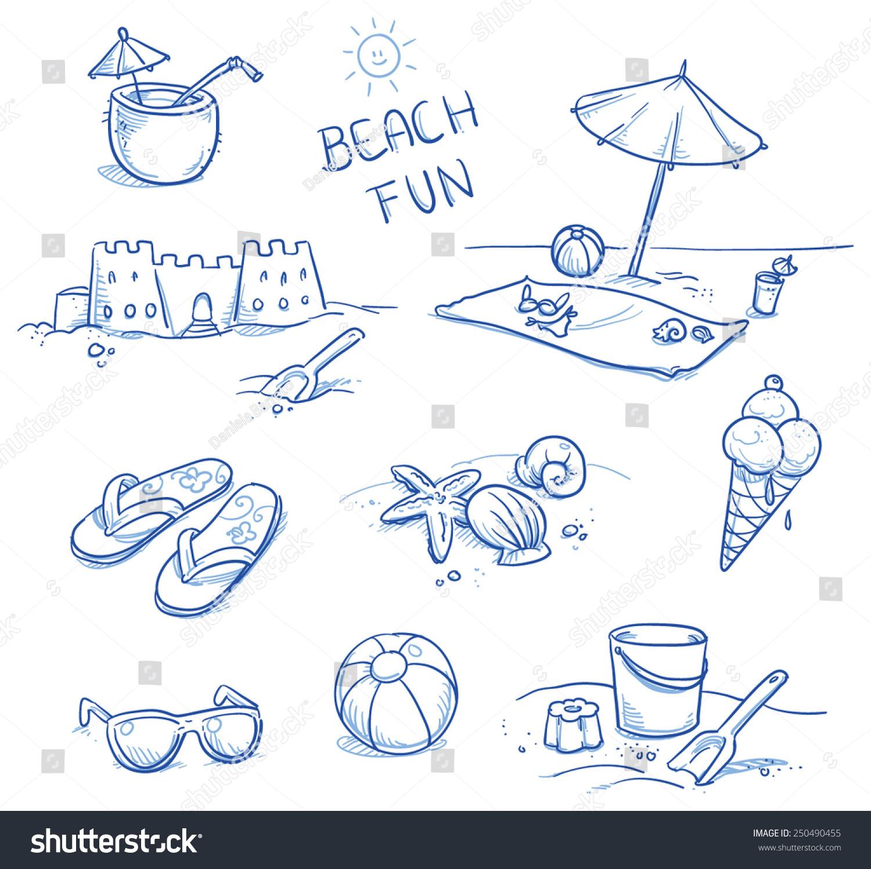 Fresh Ice Cream Stick In Summer Wallpaper Vector: Icon Set Summer Beach Holidays Travel Stock Vector