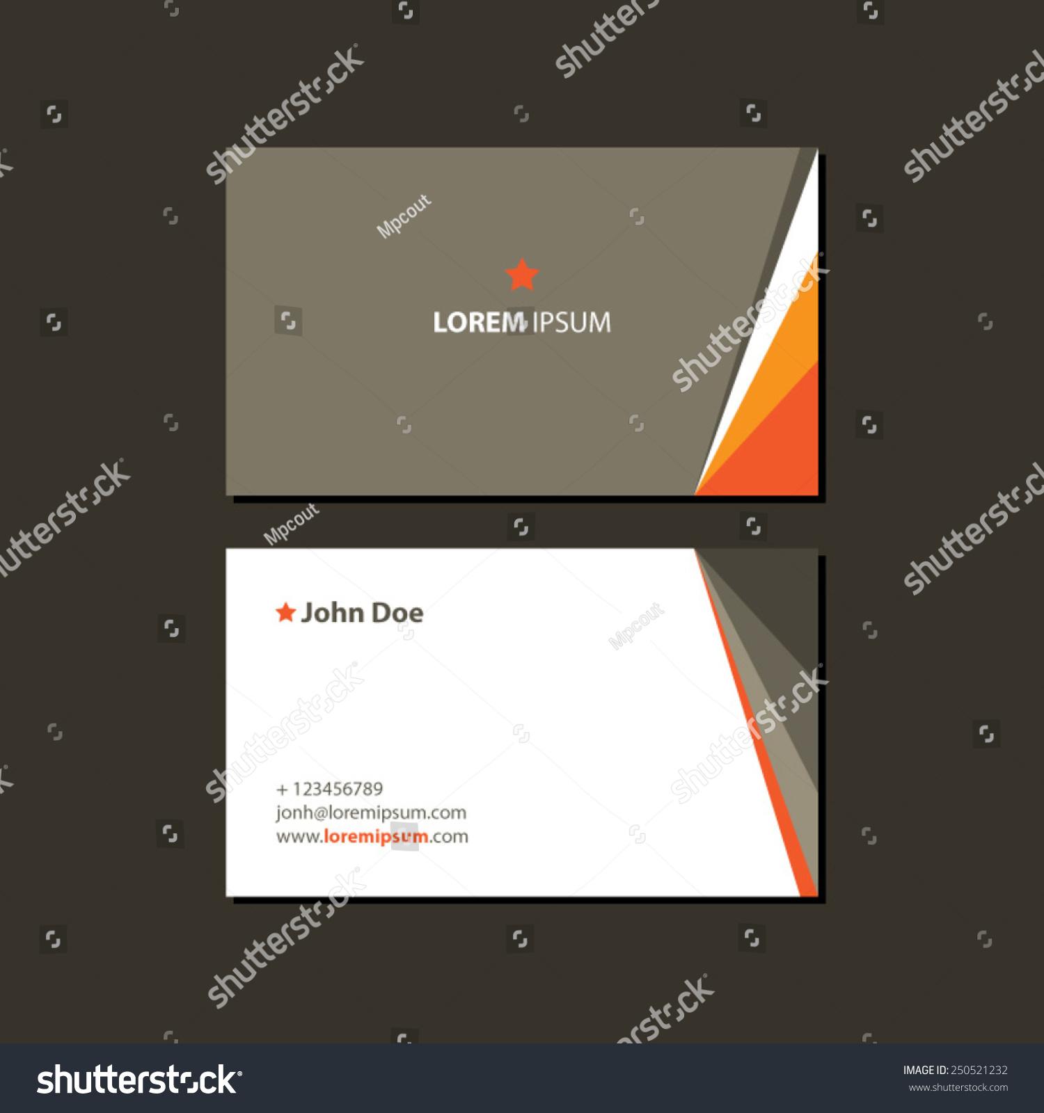 Orange Star Business Card Stock Vector 250521232 - Shutterstock