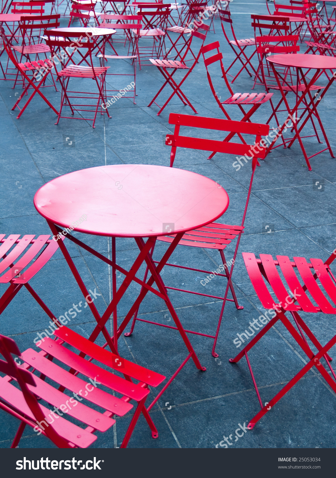 Bright Red Cafe Tables Chairs Stock Shutterstock