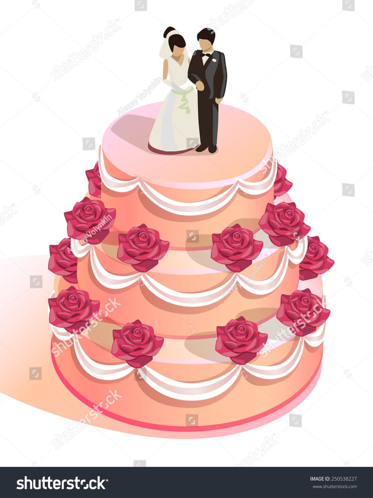 Round Wedding Cake Red Roses Bride Stock Vector (Royalty Free ...