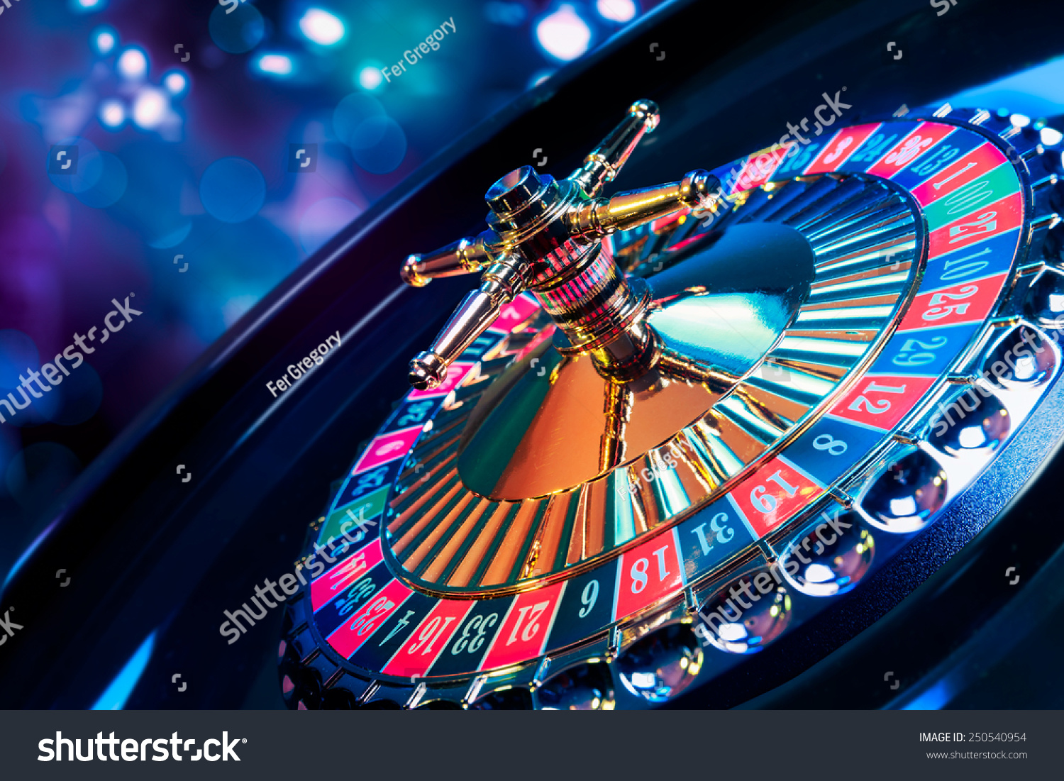 high contrast image of casino roulette #250540954