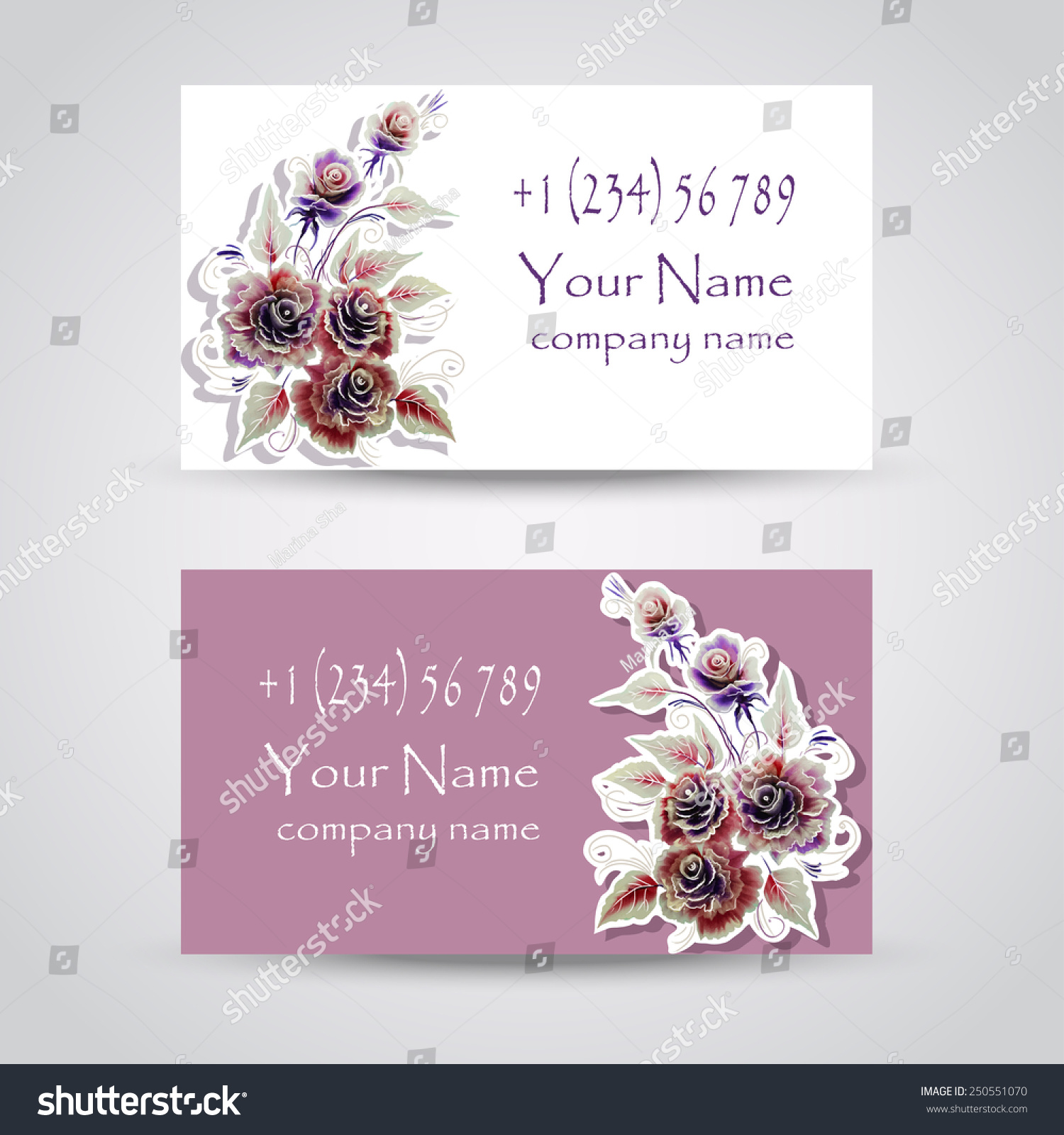 Beautiful Floral Business Card Template Stock Vector 250551070 ...