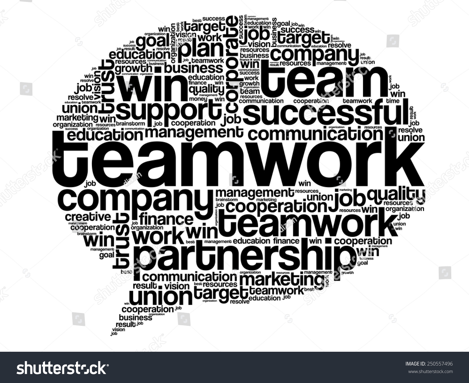 Teamwork Think Bubble Word Cloud Business Stock Vector