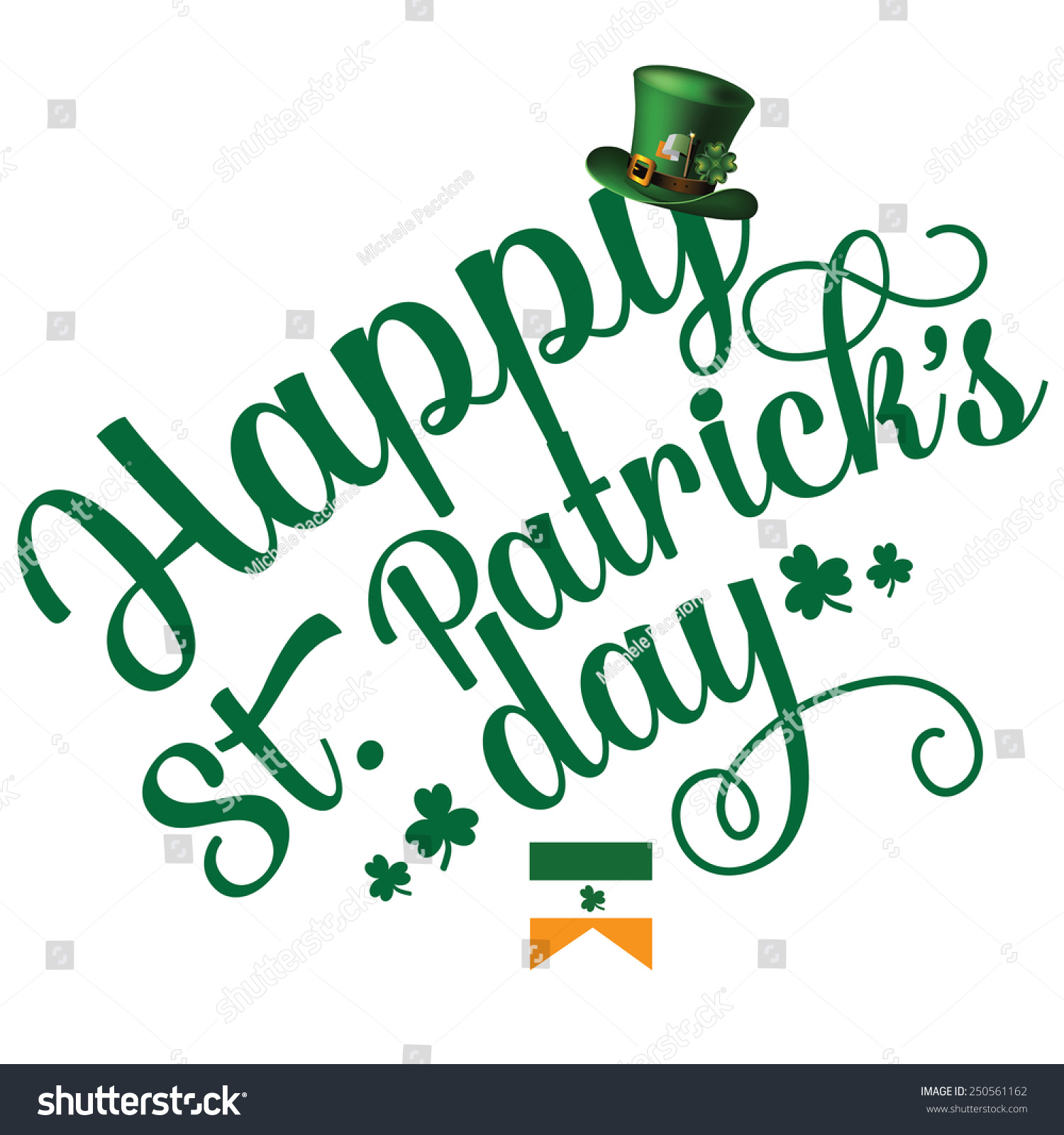 happy st day cheerful text design stock vector 250561162