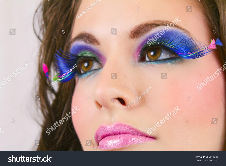 Beautiful Female Wearing Exotic Looking Eyelashes Stock Photo Edit