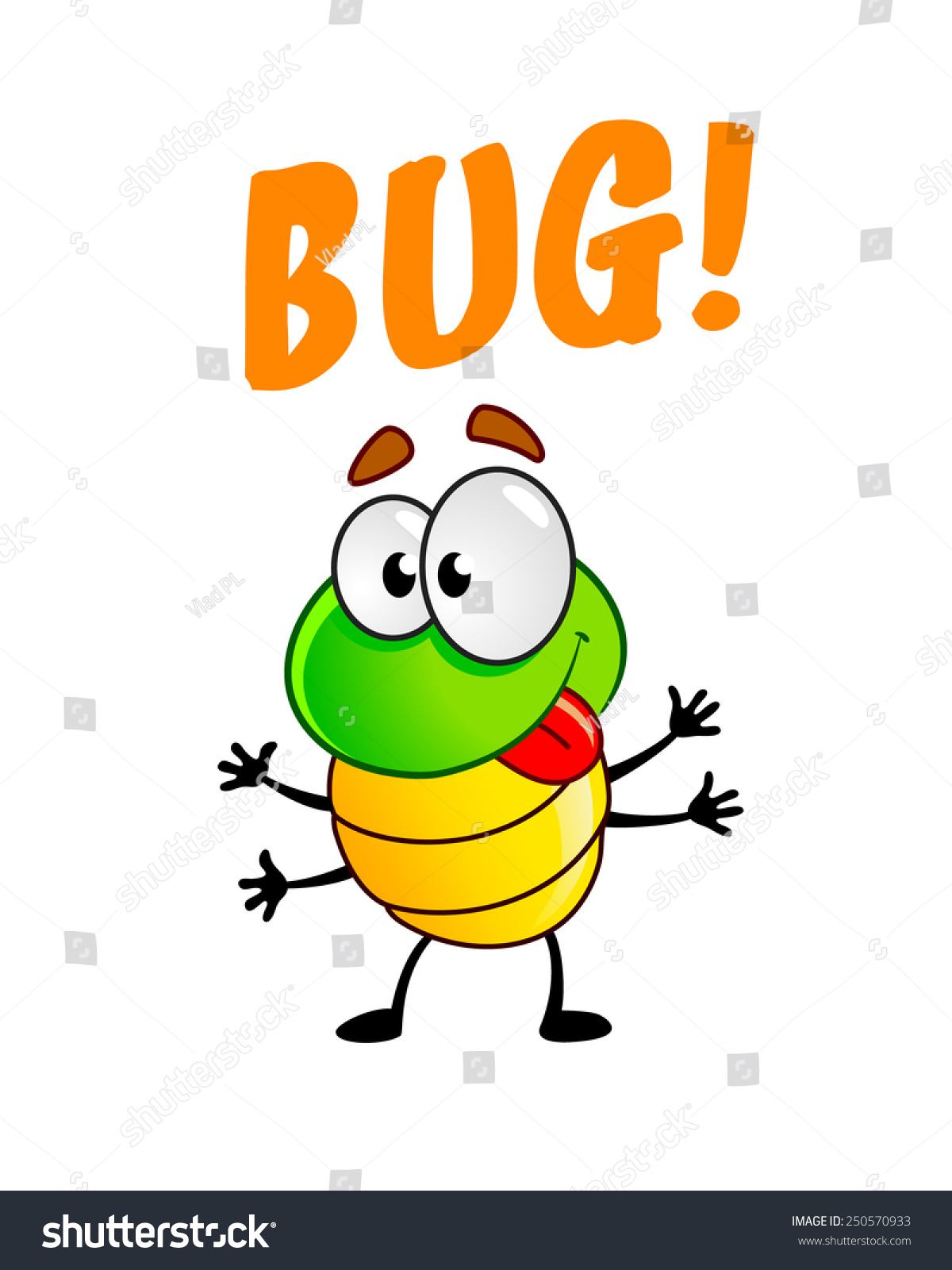 funny cute bug cartoon character stock vector 250570933