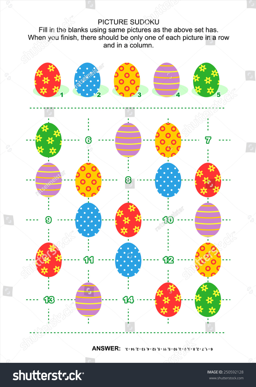 Easter Themed Picture Sudoku Puzzle 5 X 5 Stock Illustration ...