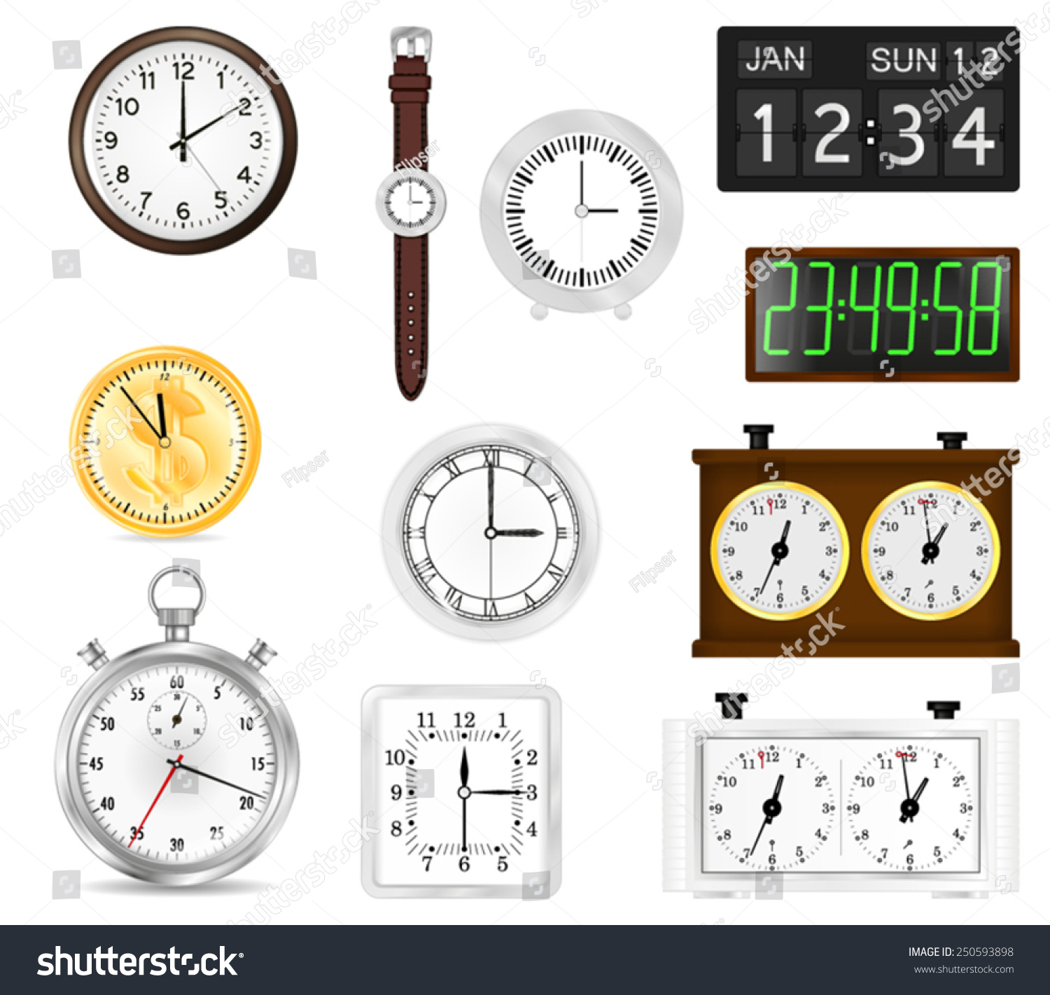 All types time indication clocks watch stock vector 250593898 all types of time indication clocks watch stopwatch flip clock chess amipublicfo Choice Image