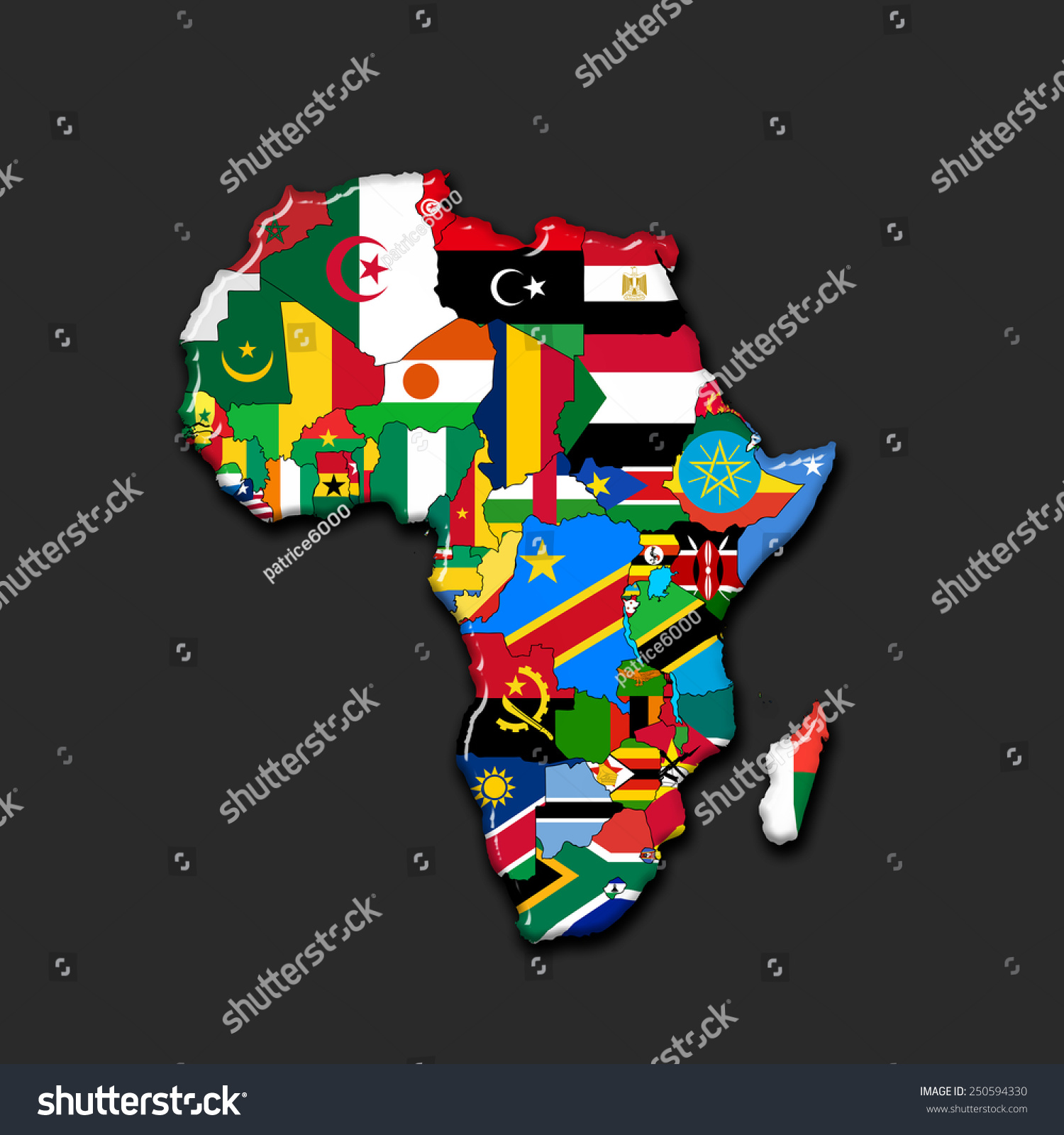 Map Of Africa With Flags.Africacontinent Flags Map Black Background Stock Illustration