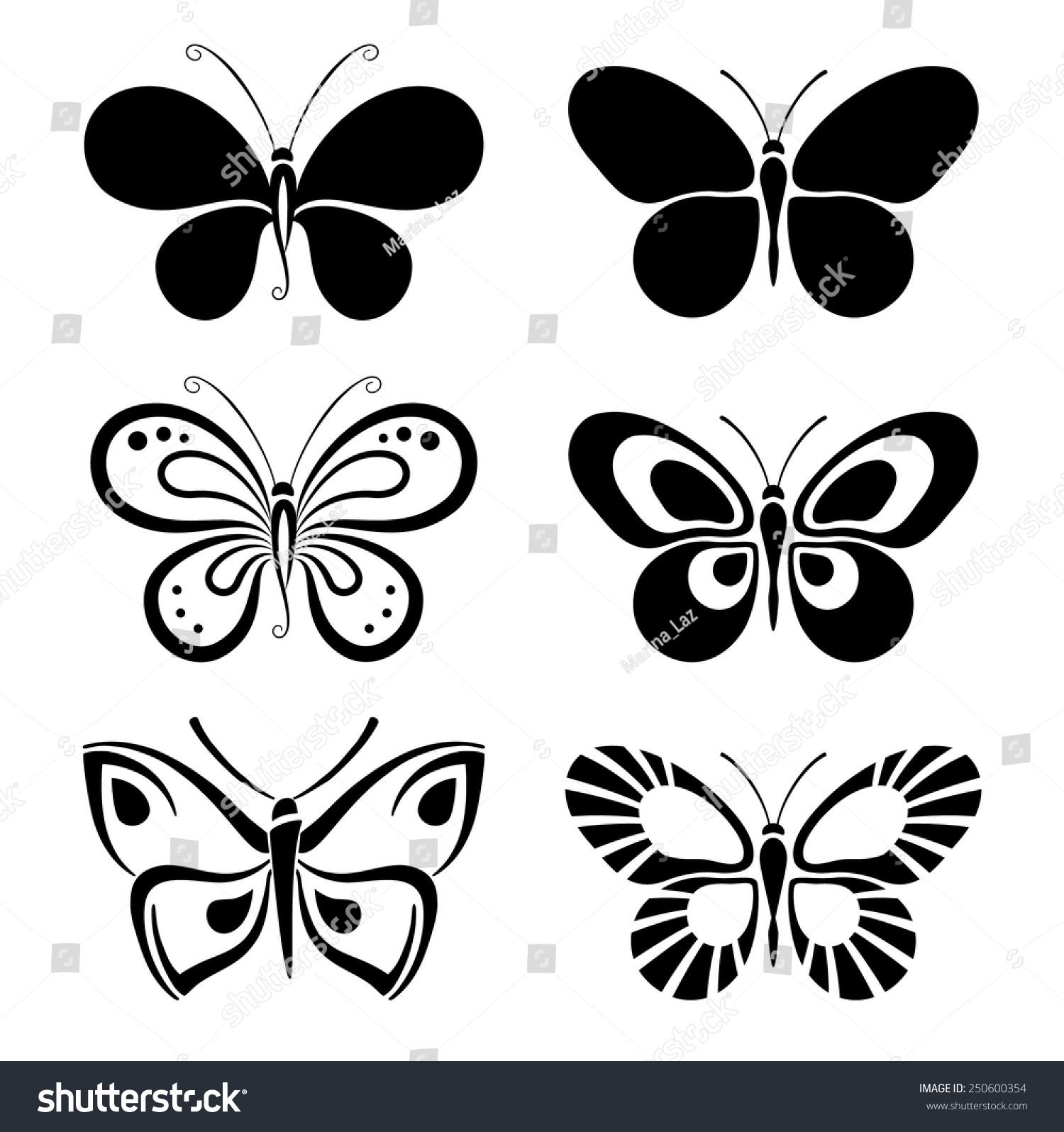 set black white butterflies stock vector 250600354 shutterstock