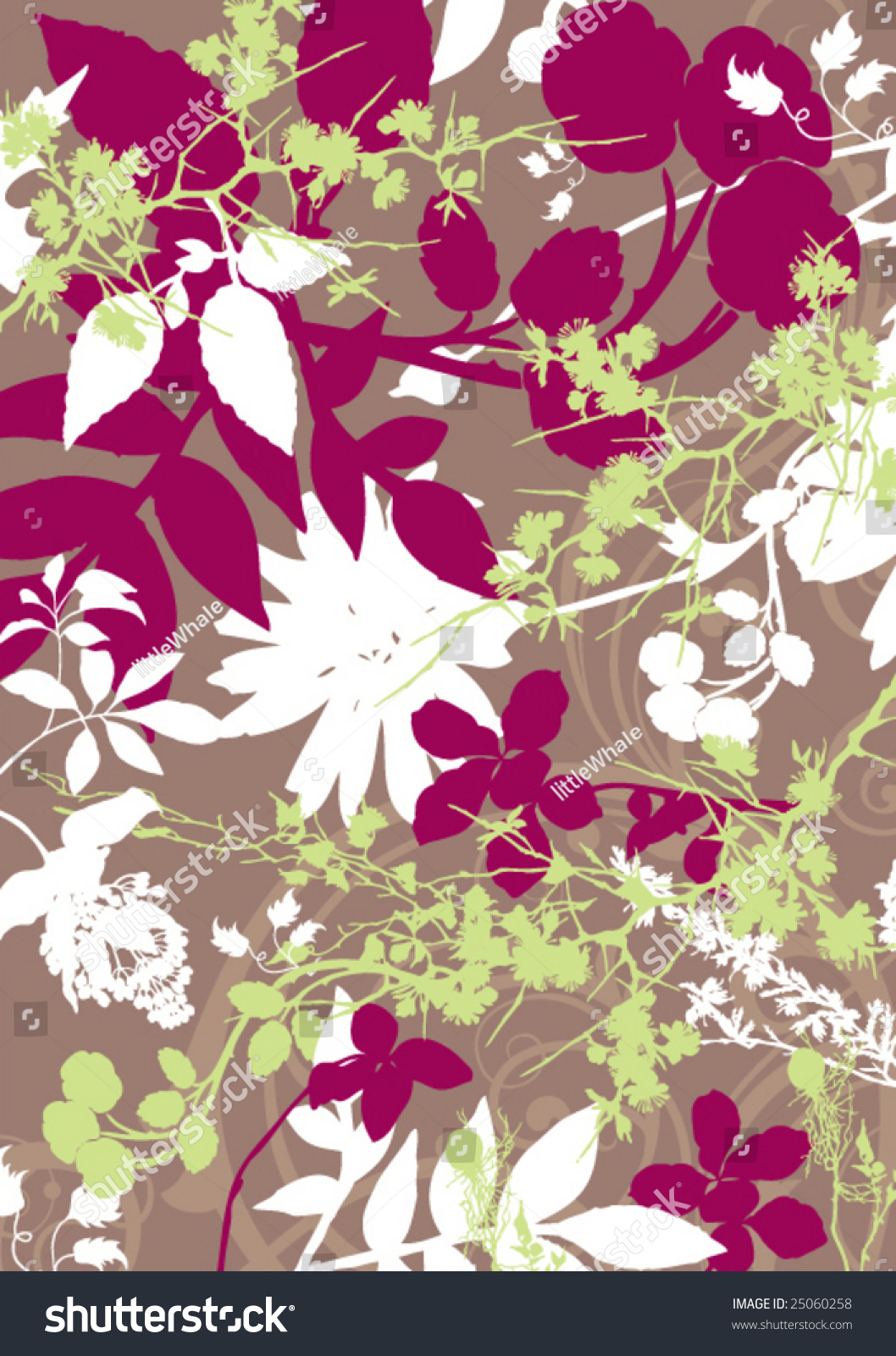 Retro Floral Wallpaper Stock Vector Royalty Free 25060258