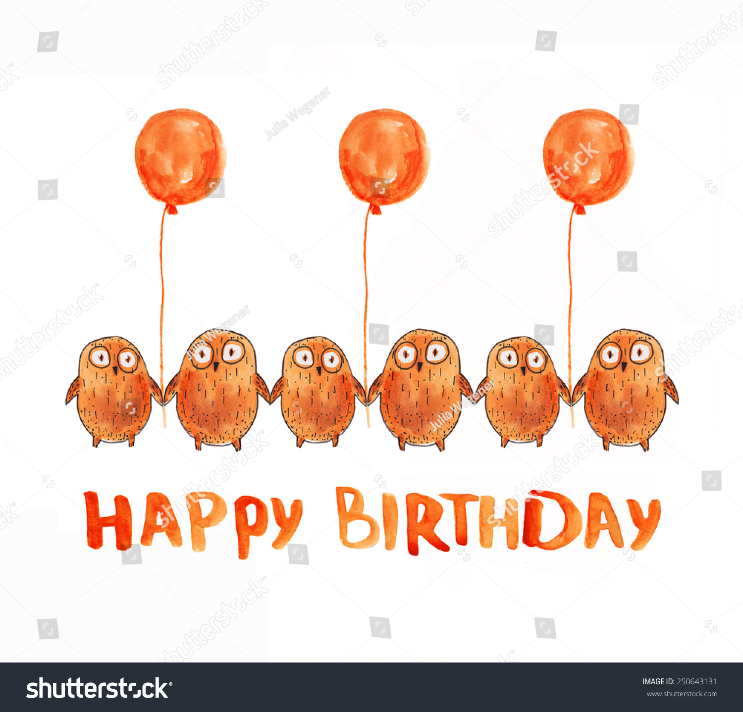 Owl balloons happy birthday greeting watercolor stock illustration owl with balloons happy birthday greeting watercolor illustration hand drawing kristyandbryce Image collections