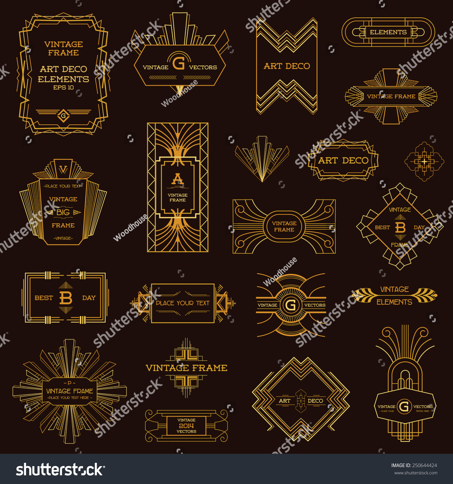 Art deco vintage frames design elements stock vector for Art deco interior design elements