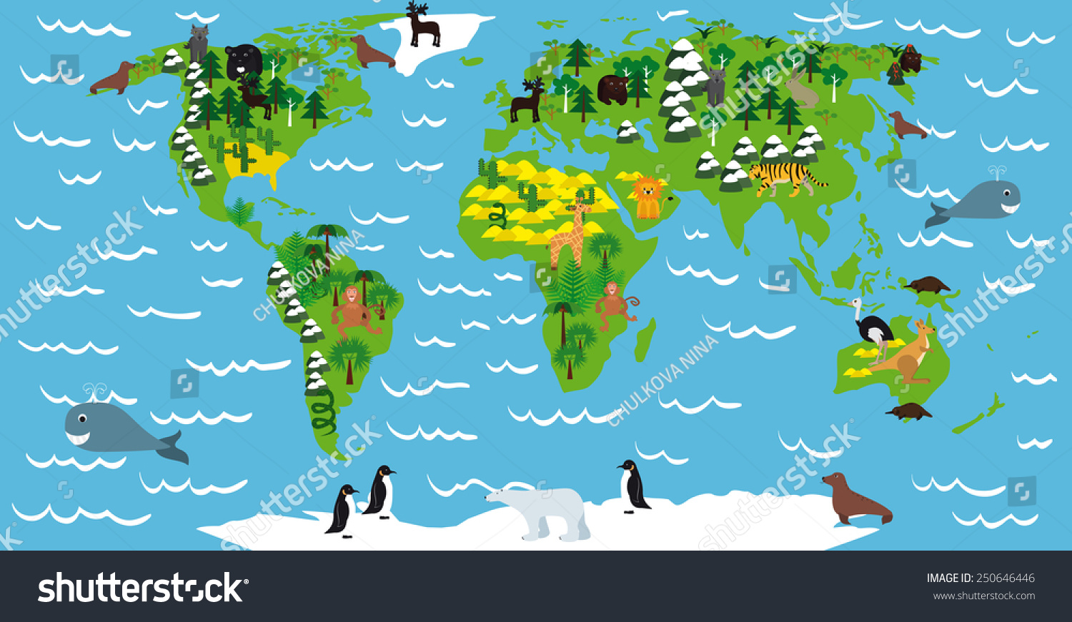 Illustration Childrens Maps Continents Oceans Animals Stock ...