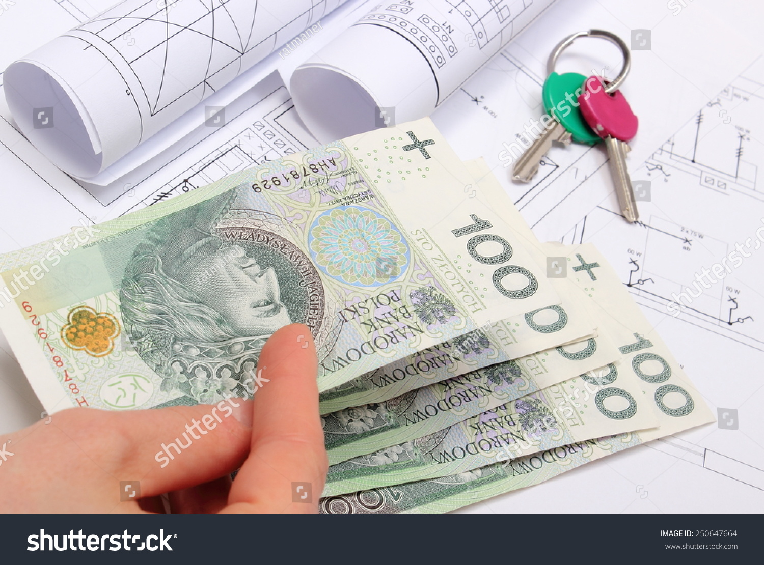 Hand Woman Money Home Keys Electrical Stock Photo (Royalty Free ...