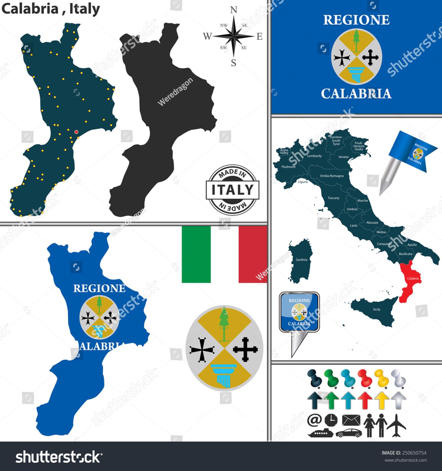 Vector Map Region Calabria Coat Arms Stock Vector (Royalty Free ...