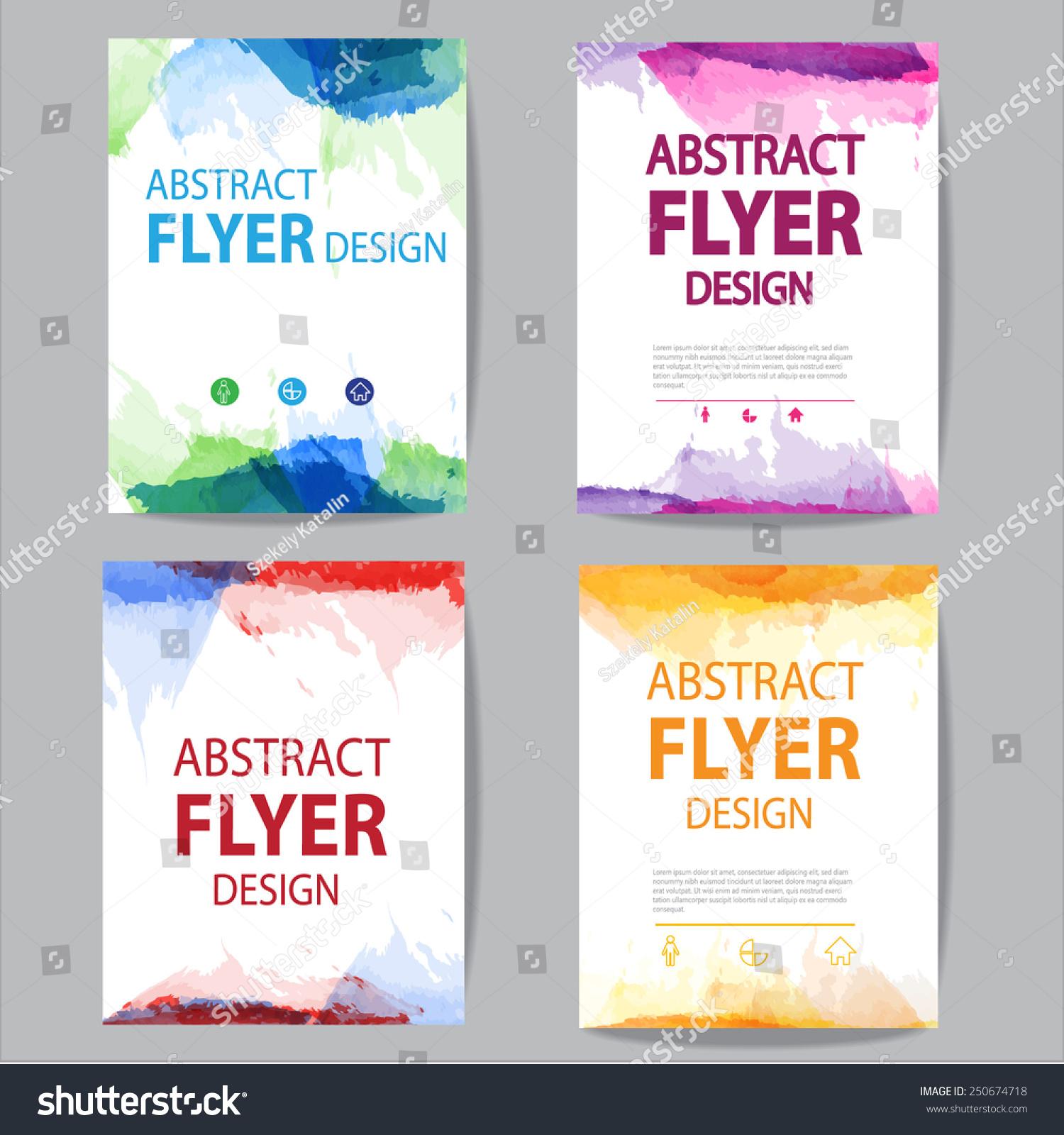 Set Brochure Flyer Modern Watercolor Template Stock Vector