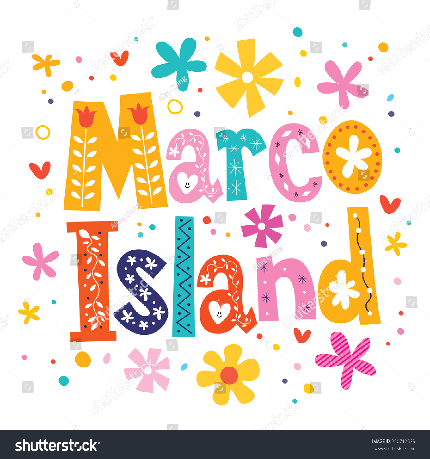 Marco Island Vector Lettering Decorative Type Stock Vector HD ...