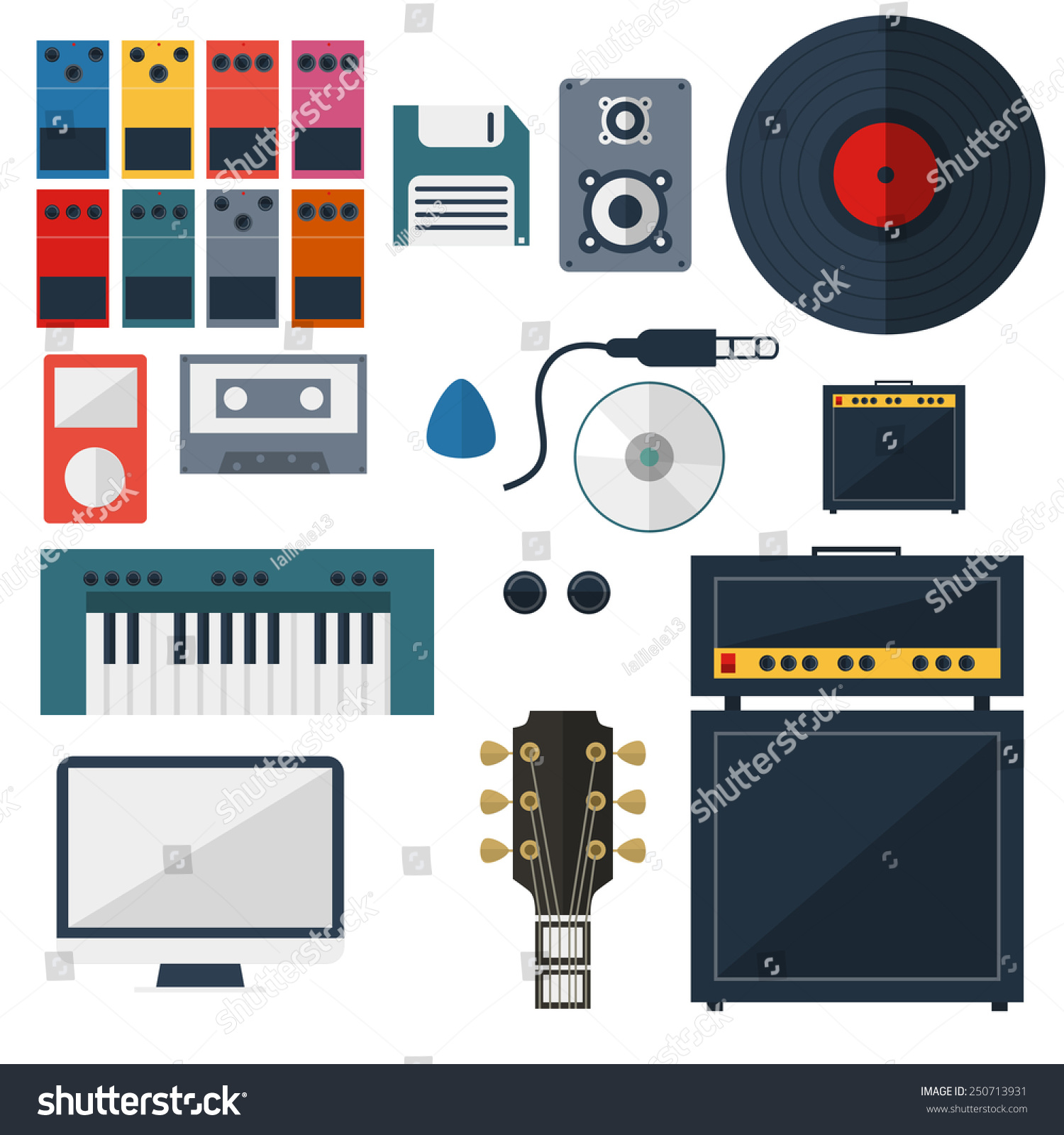 Super My Music Studio Instrument Flat Design Stock Vector 250713931 Largest Home Design Picture Inspirations Pitcheantrous