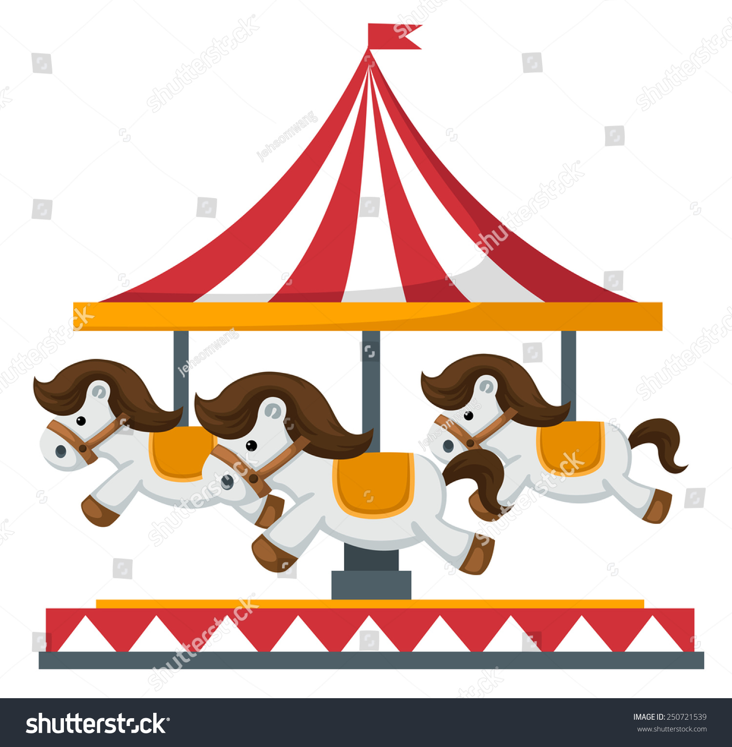Vintage merrygoround carousel vector stock vector for Merry go round horse template