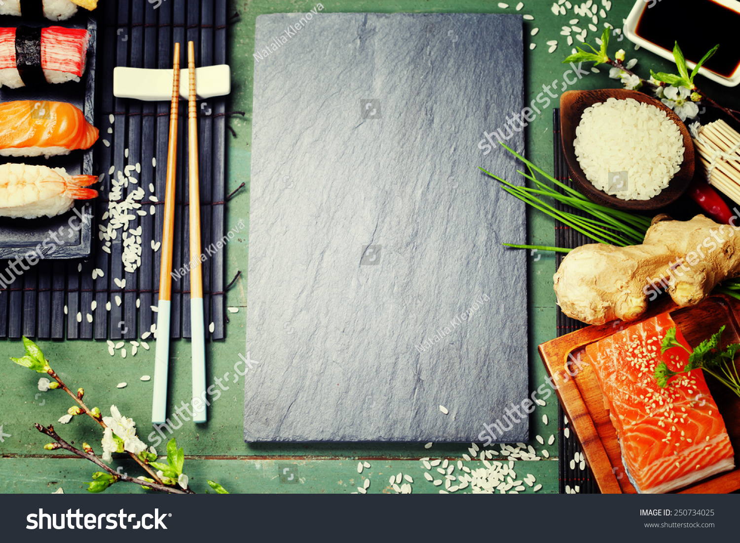 Asian food background sushi and ingredients stock photo for Asian cuisine ingredients