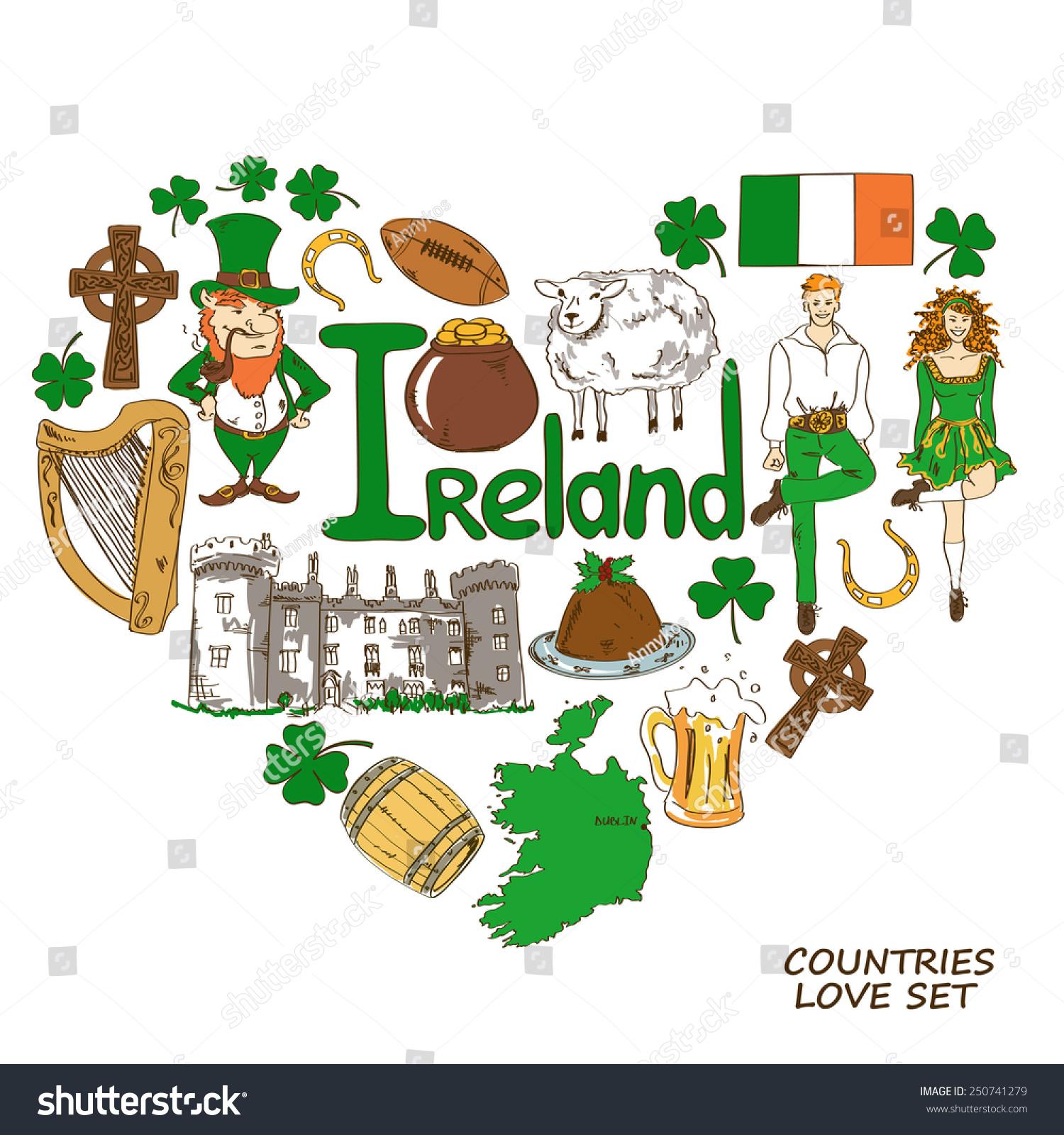 Colorful Sketch Collection Irish Symbols Heart Stock Vector Royalty