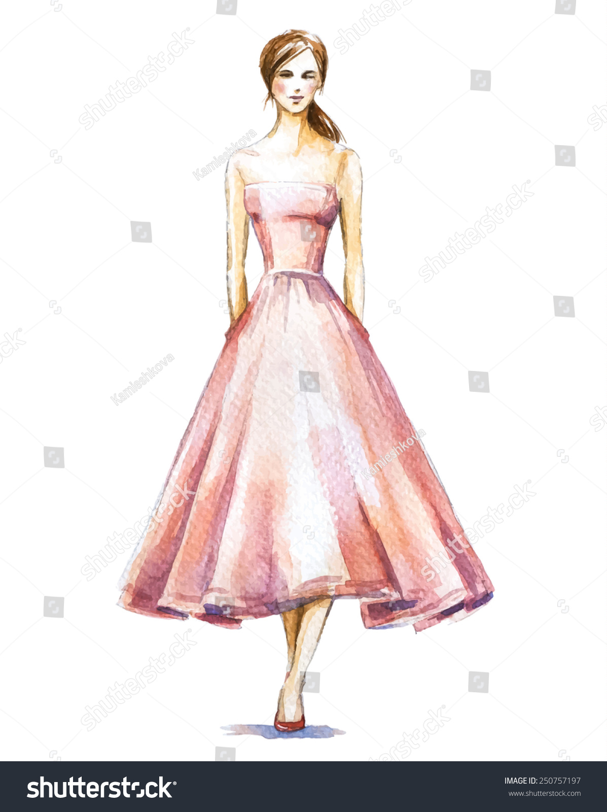 Watercolor Fashion Illustration Girl Dress Vector Stock Vector ...
