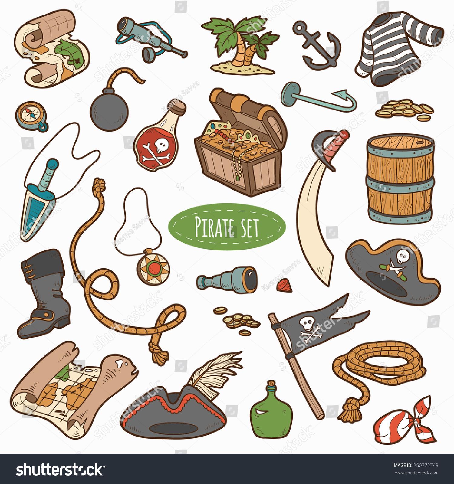 vector set pirate items colorful cartoon のベクター画像素材