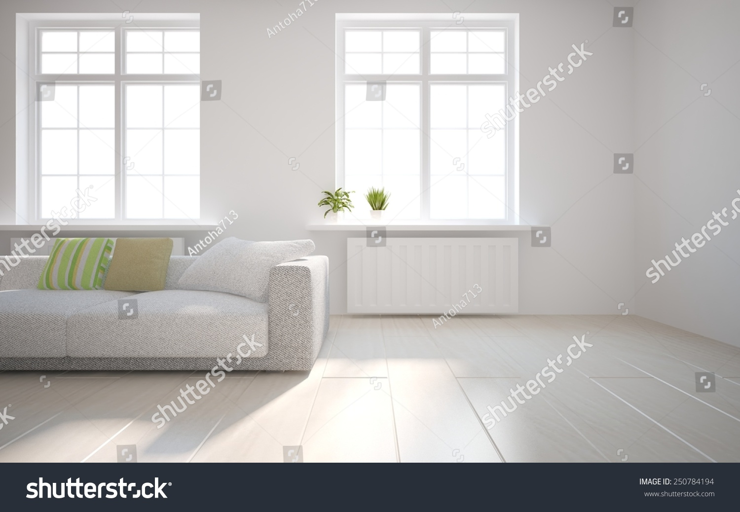 white empty interior concept with flower on a window 3d rendering