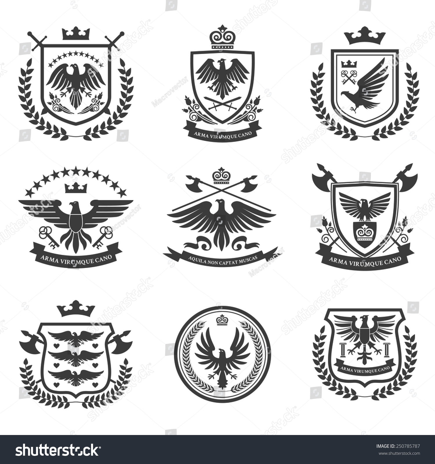 heraldry coat of arms emblems shield icons set with spread wings black ...