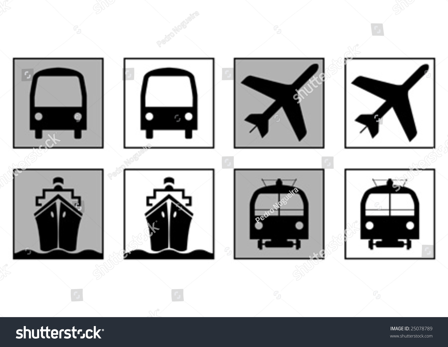 Trains Plains Boats Bus Transportation Symbols Stock Vector Royalty