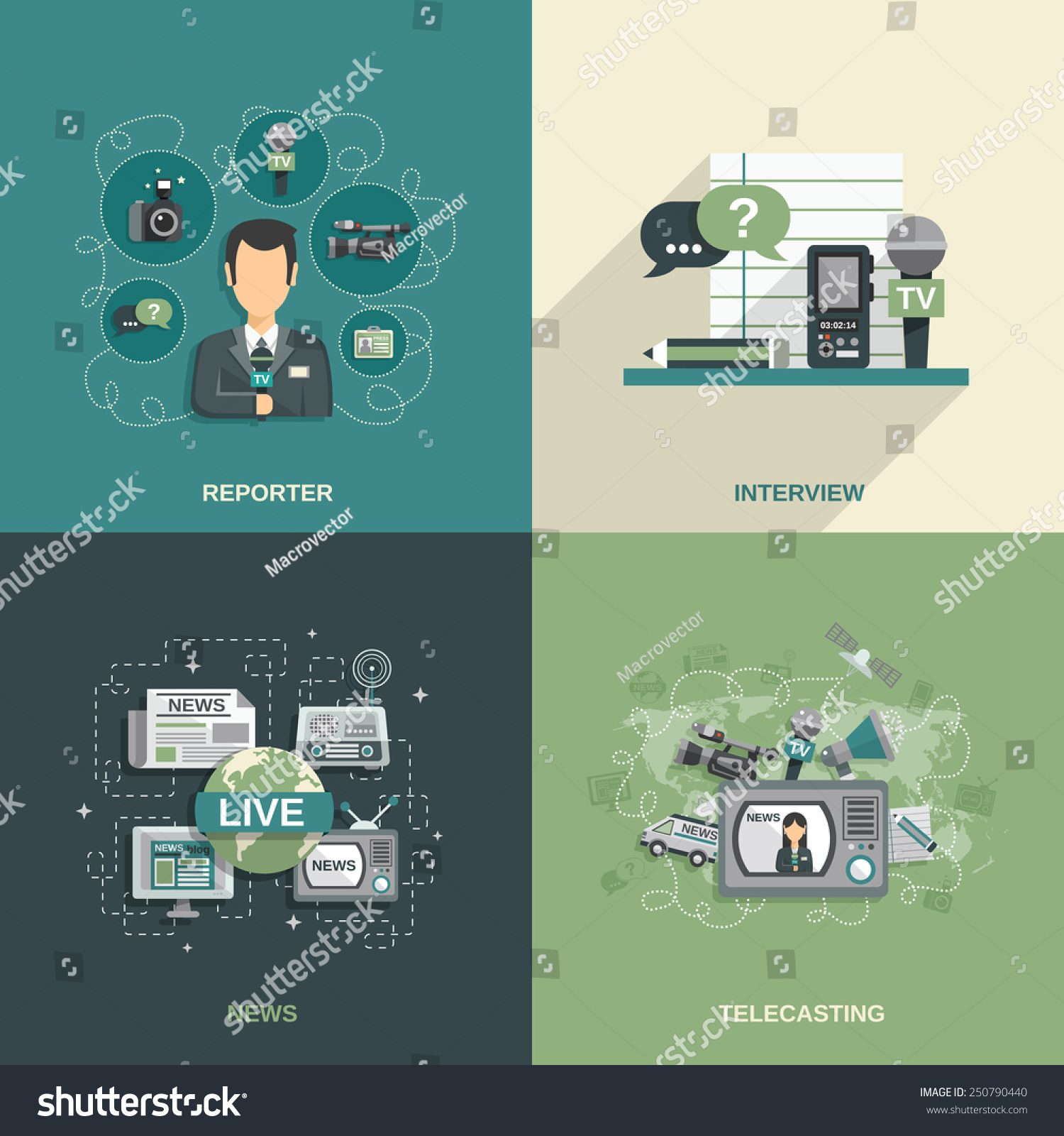 Journalist design concept set with reporter interview news telecasting flat icons isolated vector illustration