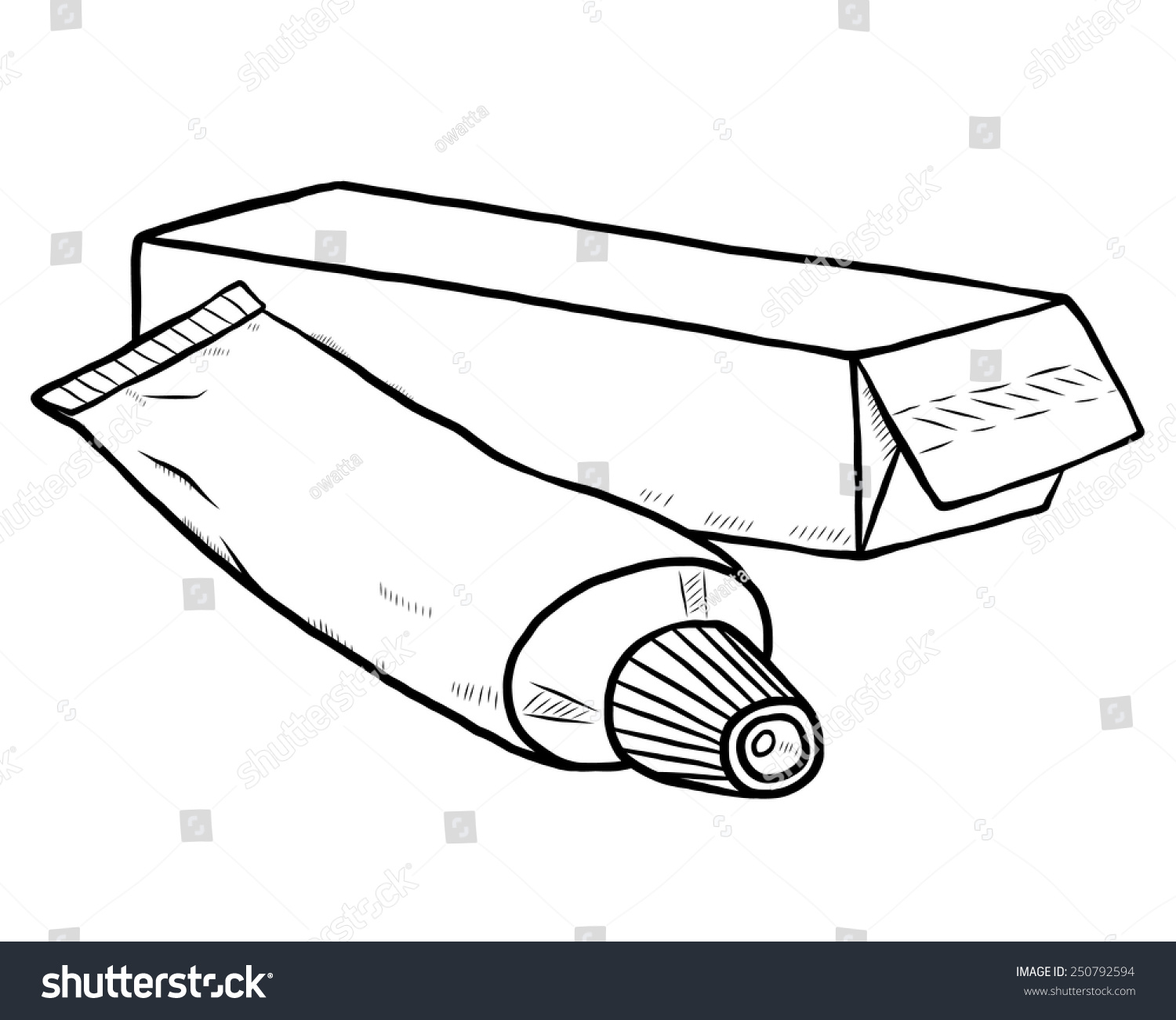Toothpaste Package Box Cartoon Vector Illustration Stock Vector Royalty Free 250792594