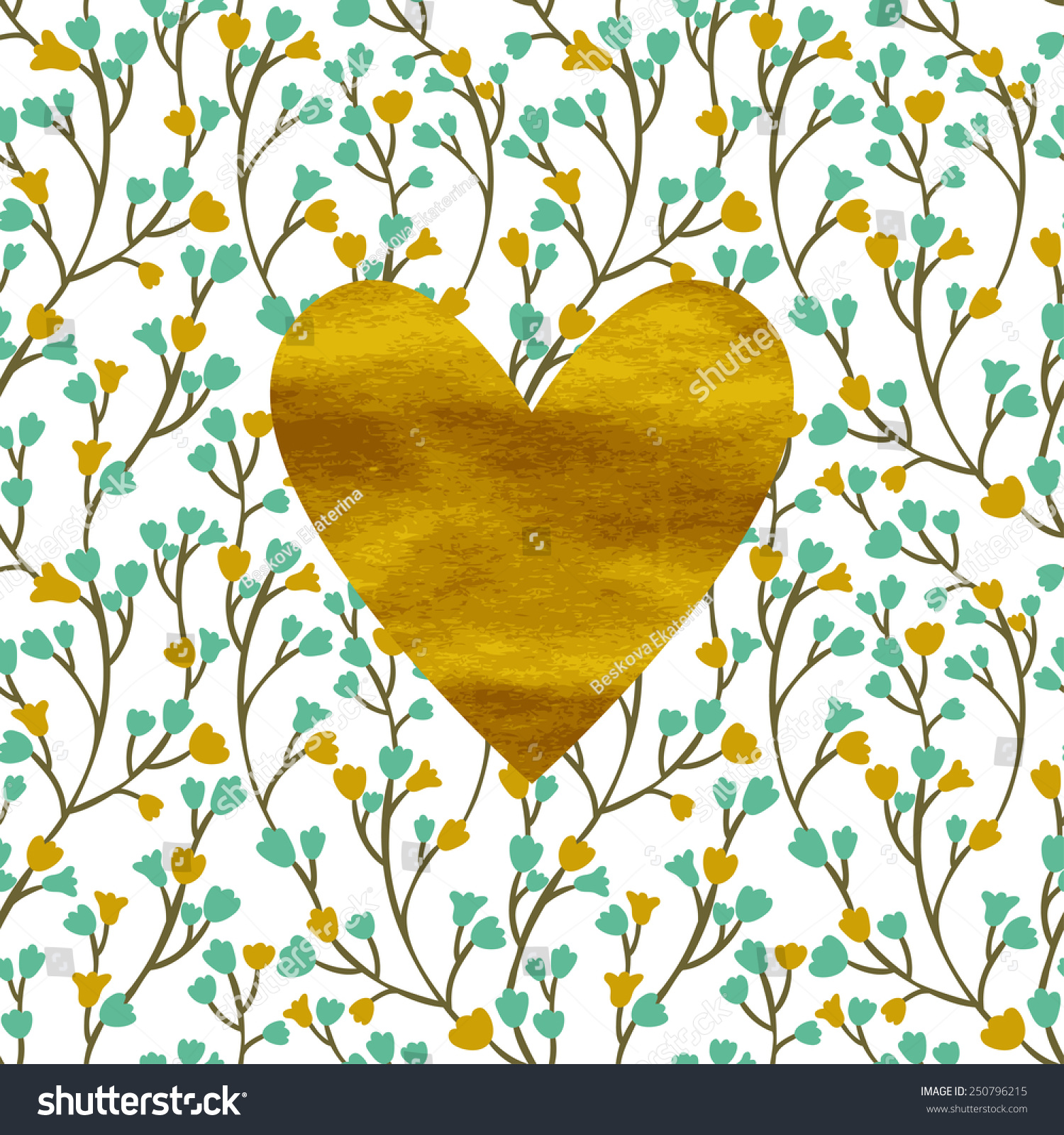 Romantic vector seamless background greeting card wallpaper vector art - Vector Card With Golden Heart And Floral Seamless Pattern Vintage Romantic Background Seamless Texture