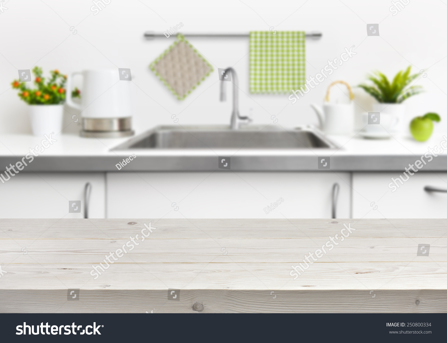 Wooden Table On Kitchen Sink Interior Background Stock Photo 250800334