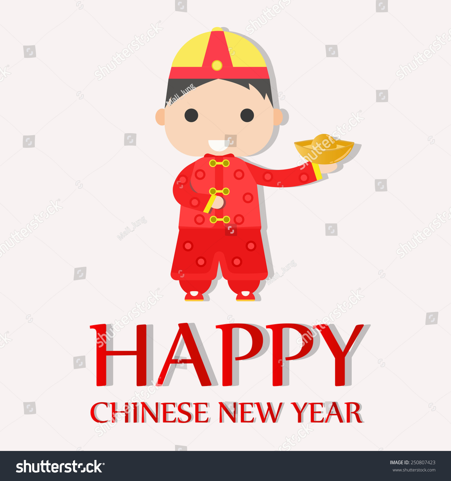 Happy Chinese New Year Greetings Card Happy Stock Vector (Royalty ...