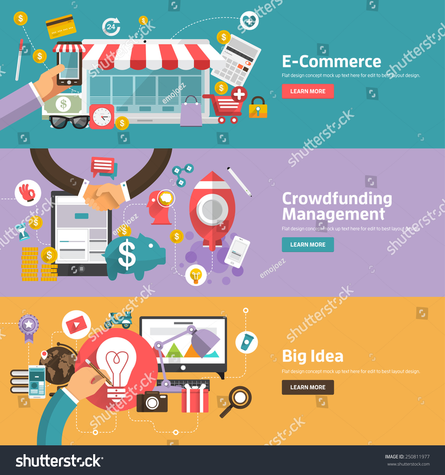 Promotional Images Management Stock Vector Flat Design Concepts For E Commerce