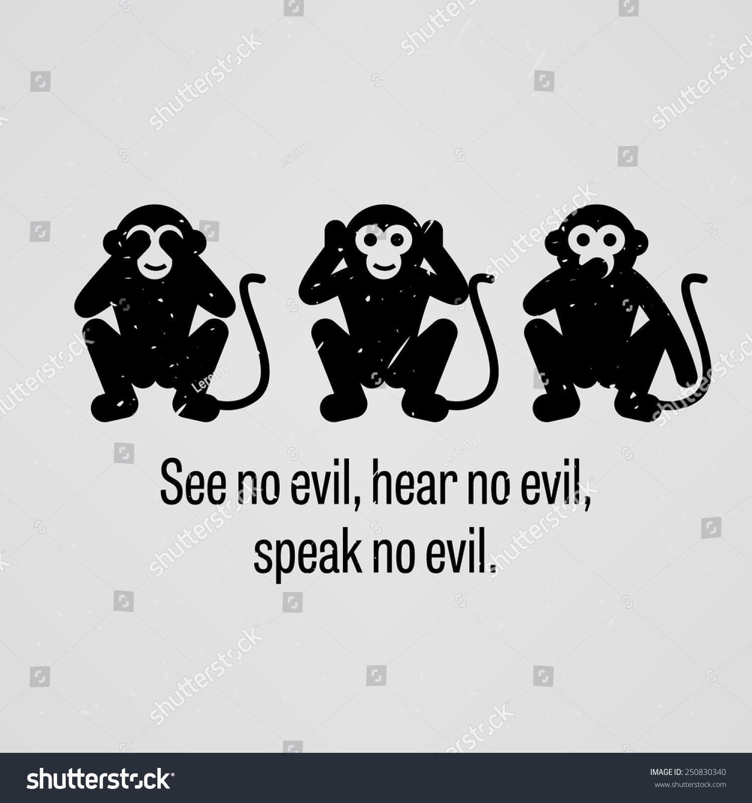 see no evil hear no evil stock vector 250830340 shutterstock. Black Bedroom Furniture Sets. Home Design Ideas