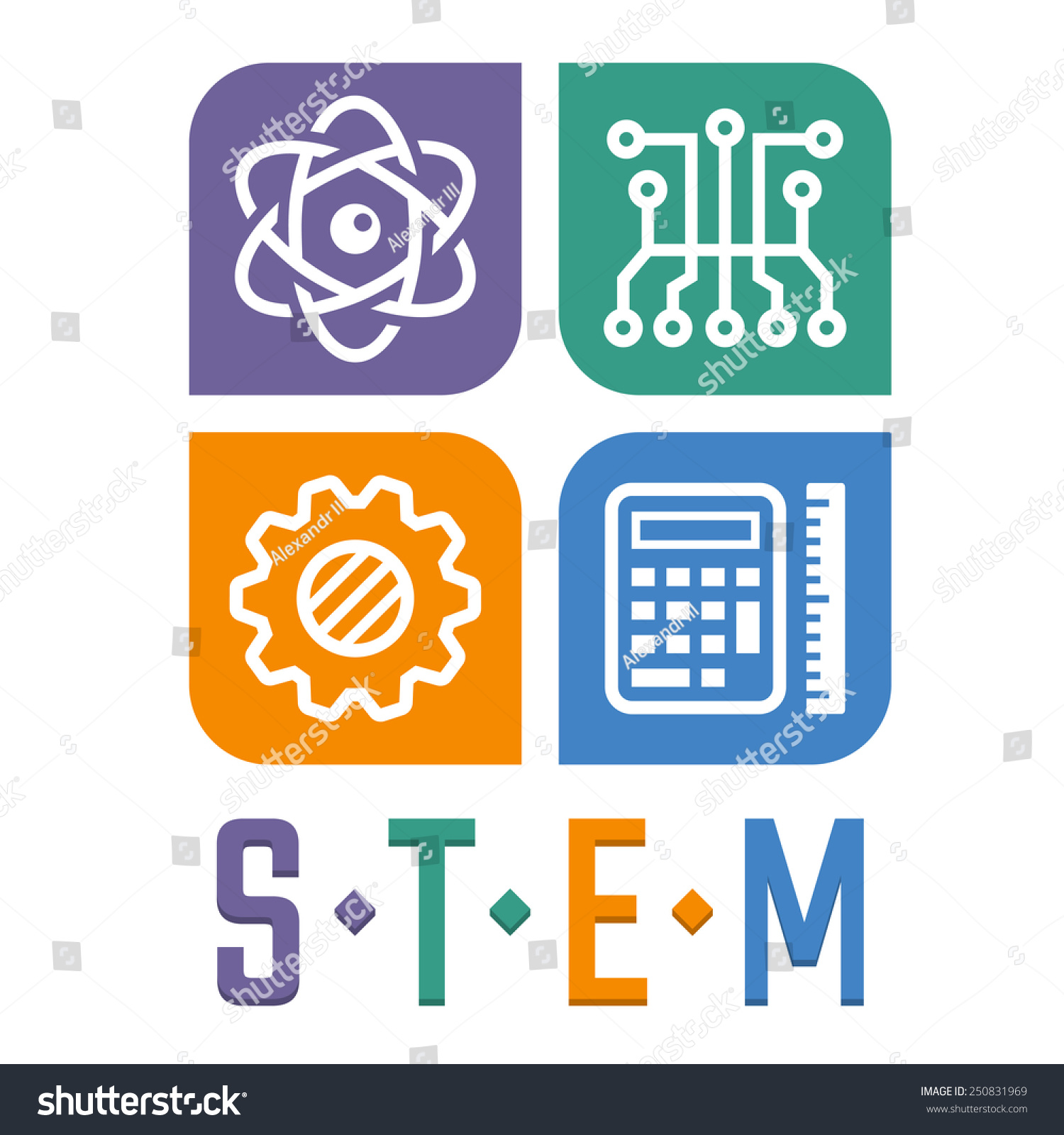 Science Technology Engineering And Math Education For: Vector Illustration Science Technology Engineering Math