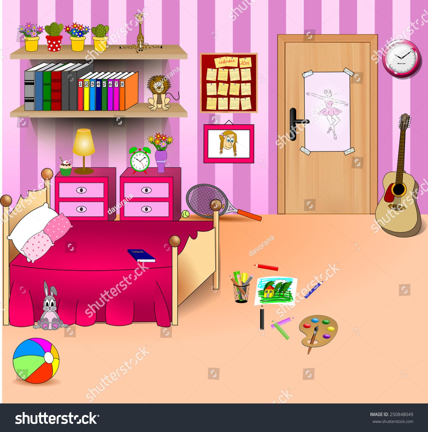Cartoon Room: Kid Bedroom Vector Art Image Illustration Stock Vector