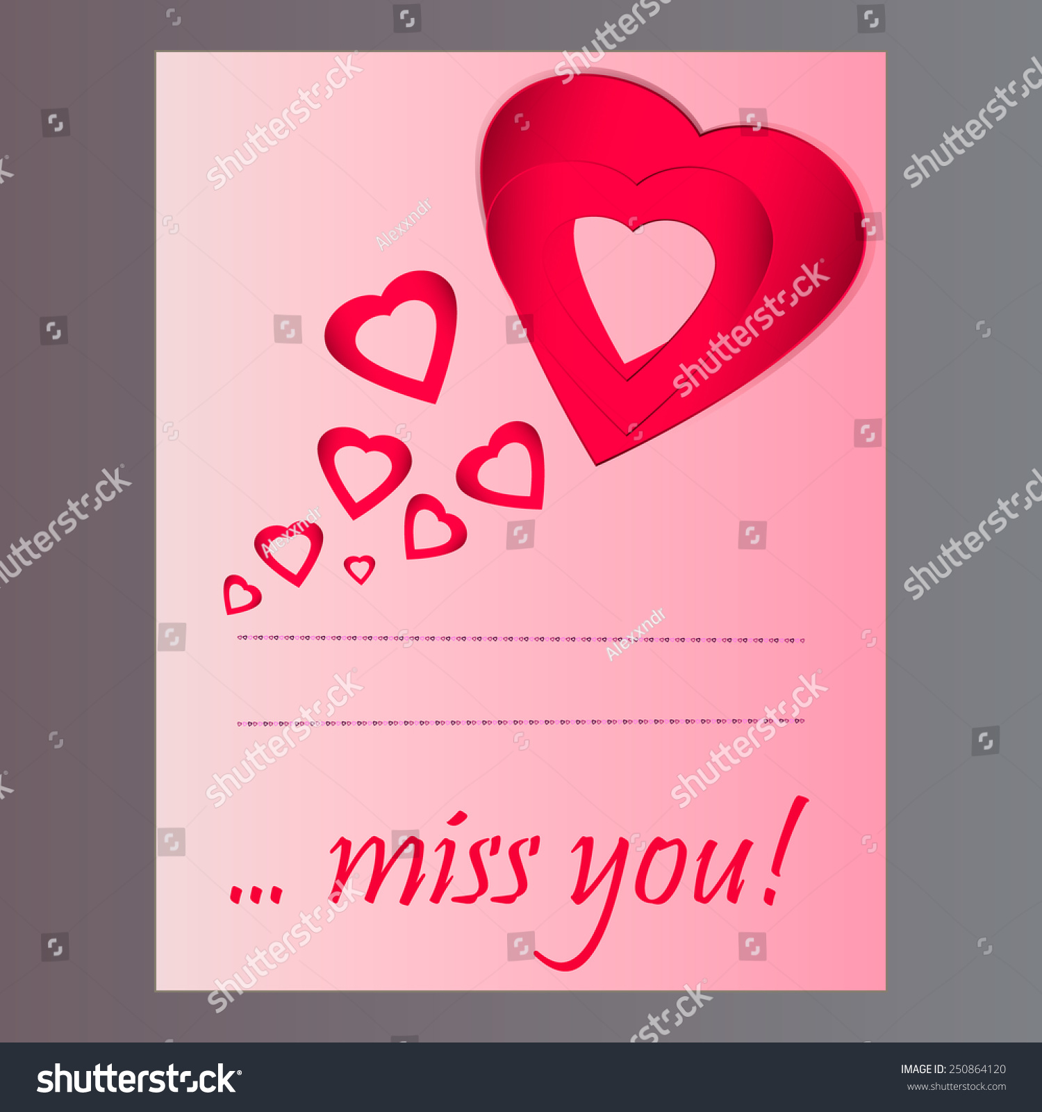 Greeting card valentines day words miss stock vector 250864120 greeting card for valentines day with words miss you kristyandbryce Images